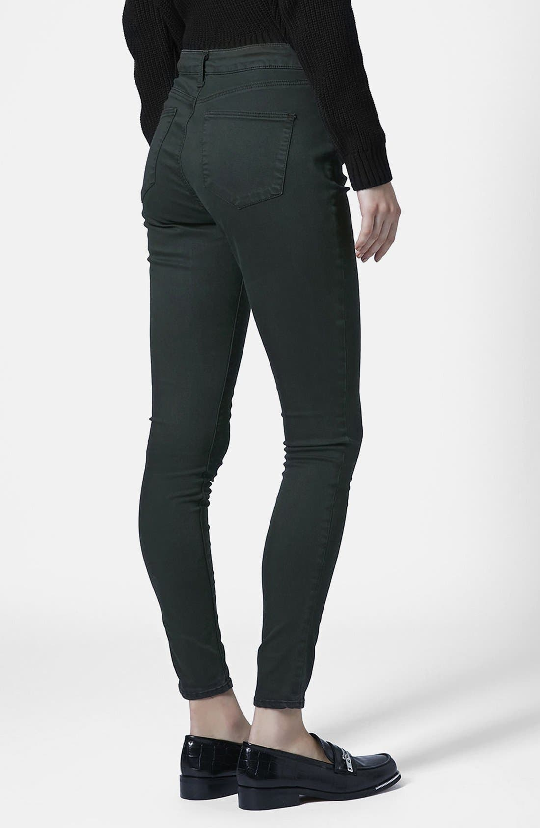 Alternate Image 2  - Topshop Moto 'Leigh' Forest Jeans (Dark Green)