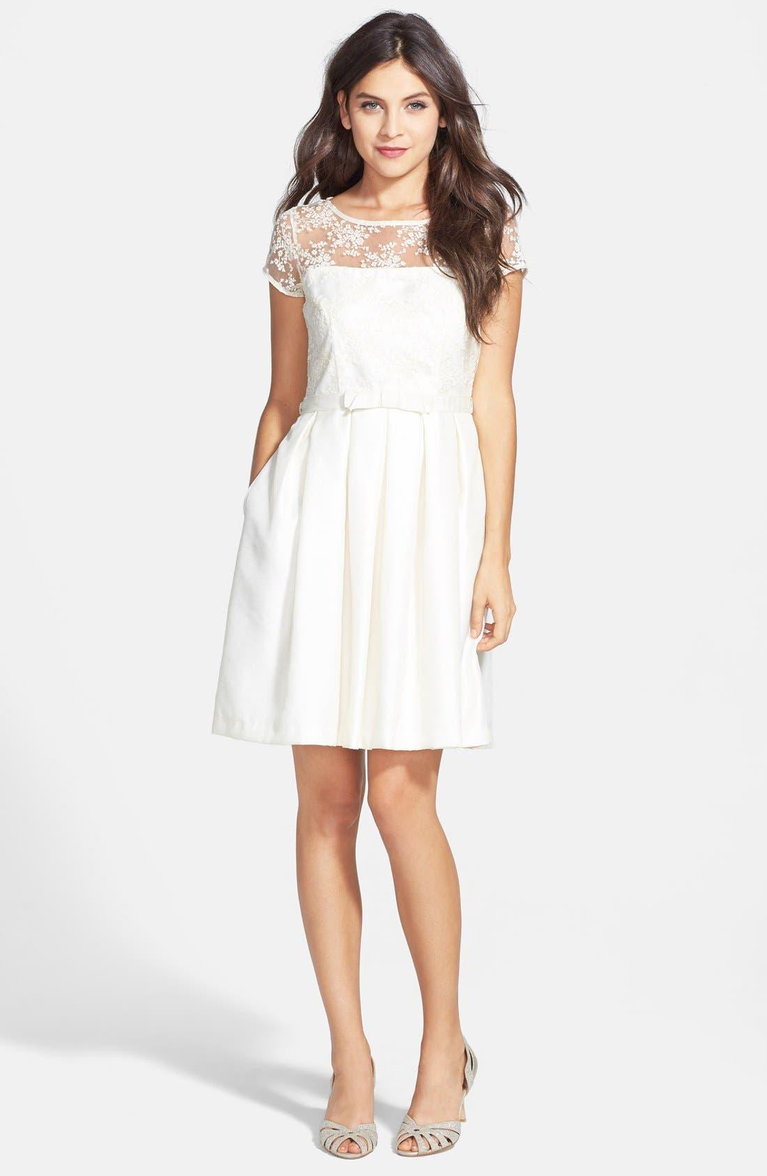 Alternate Image 4  - Taylor Dresses Illusion Yoke Shantung Fit & Flare Dress