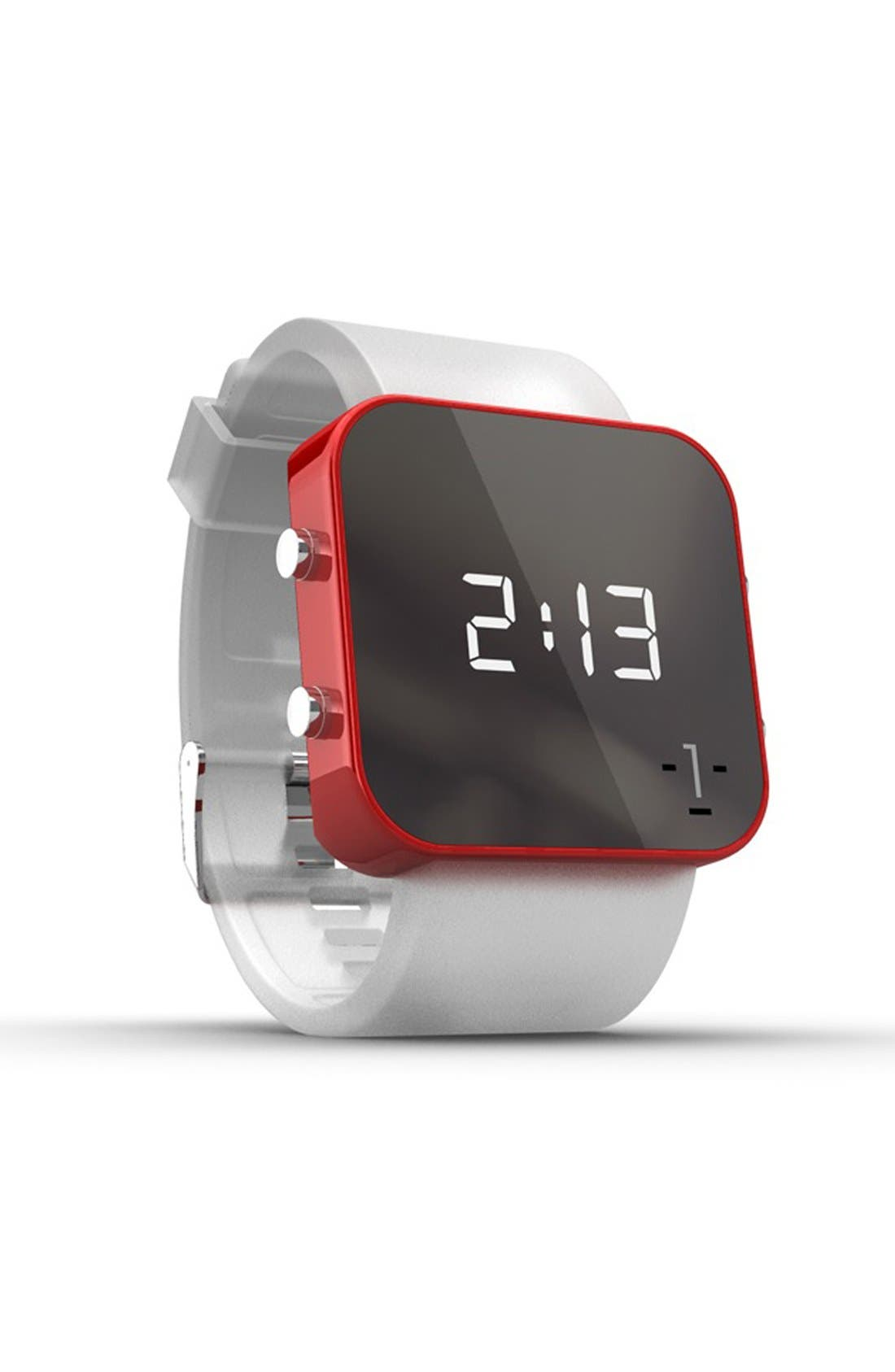 Alternate Image 2  - 1:Face 'Red Cross' Square Digital Silicone Strap Watch, 38mm