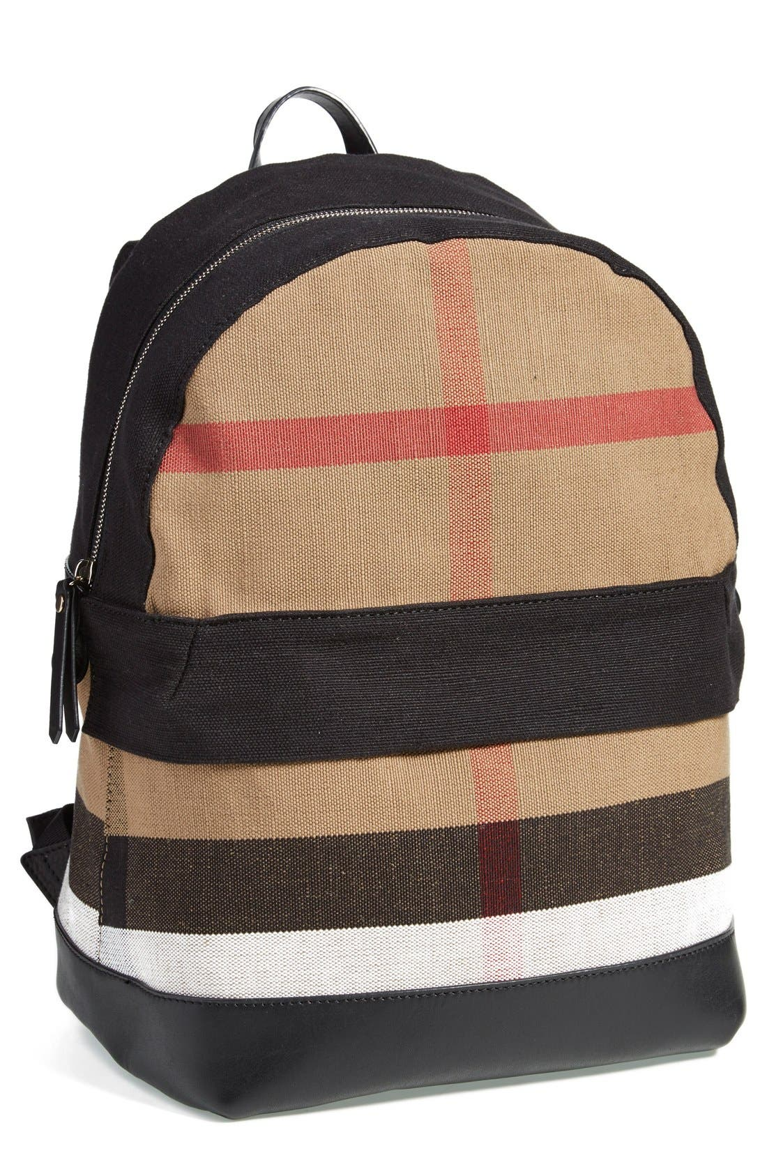 Burberry Check Print Canvas Backpack