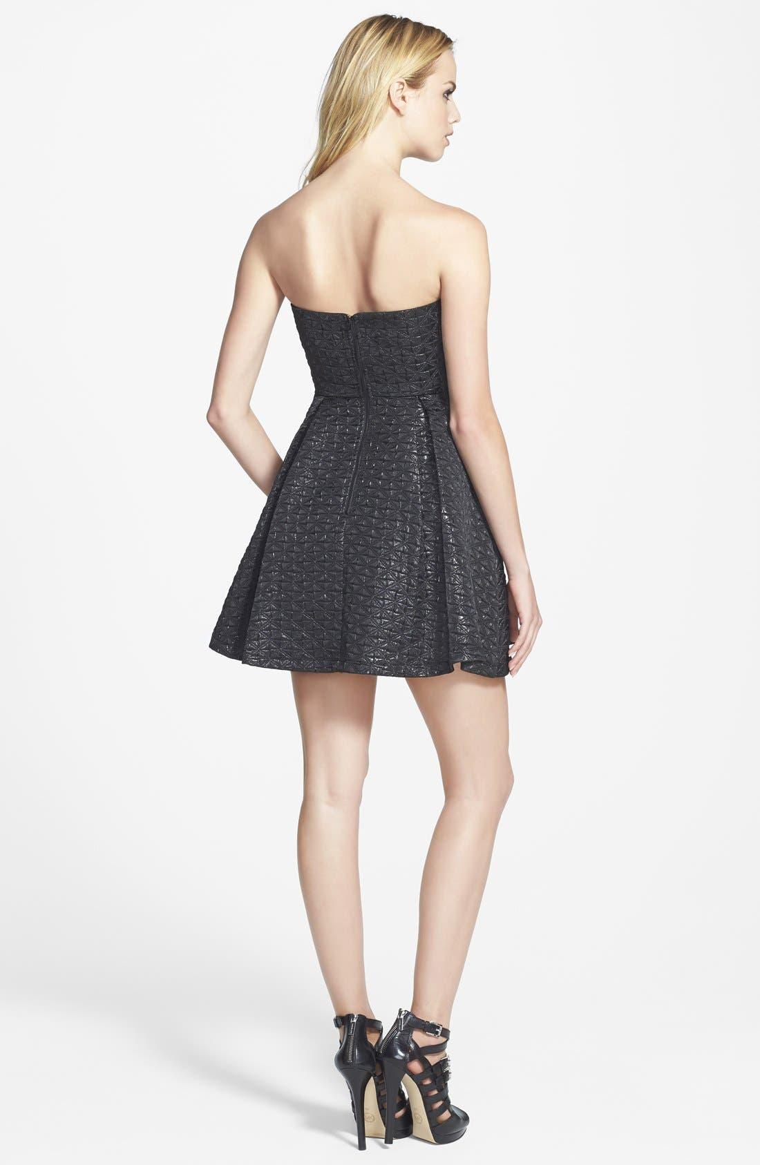 Alternate Image 2  - ASTR Strapless Jacquard Fit & Flare Dress