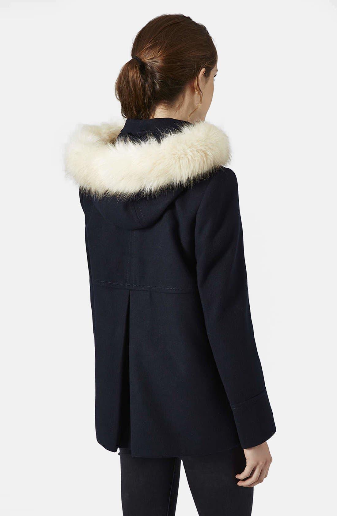 Alternate Image 2  - Topshop 'Lottie' Faux Fur Trim Hooded Coat