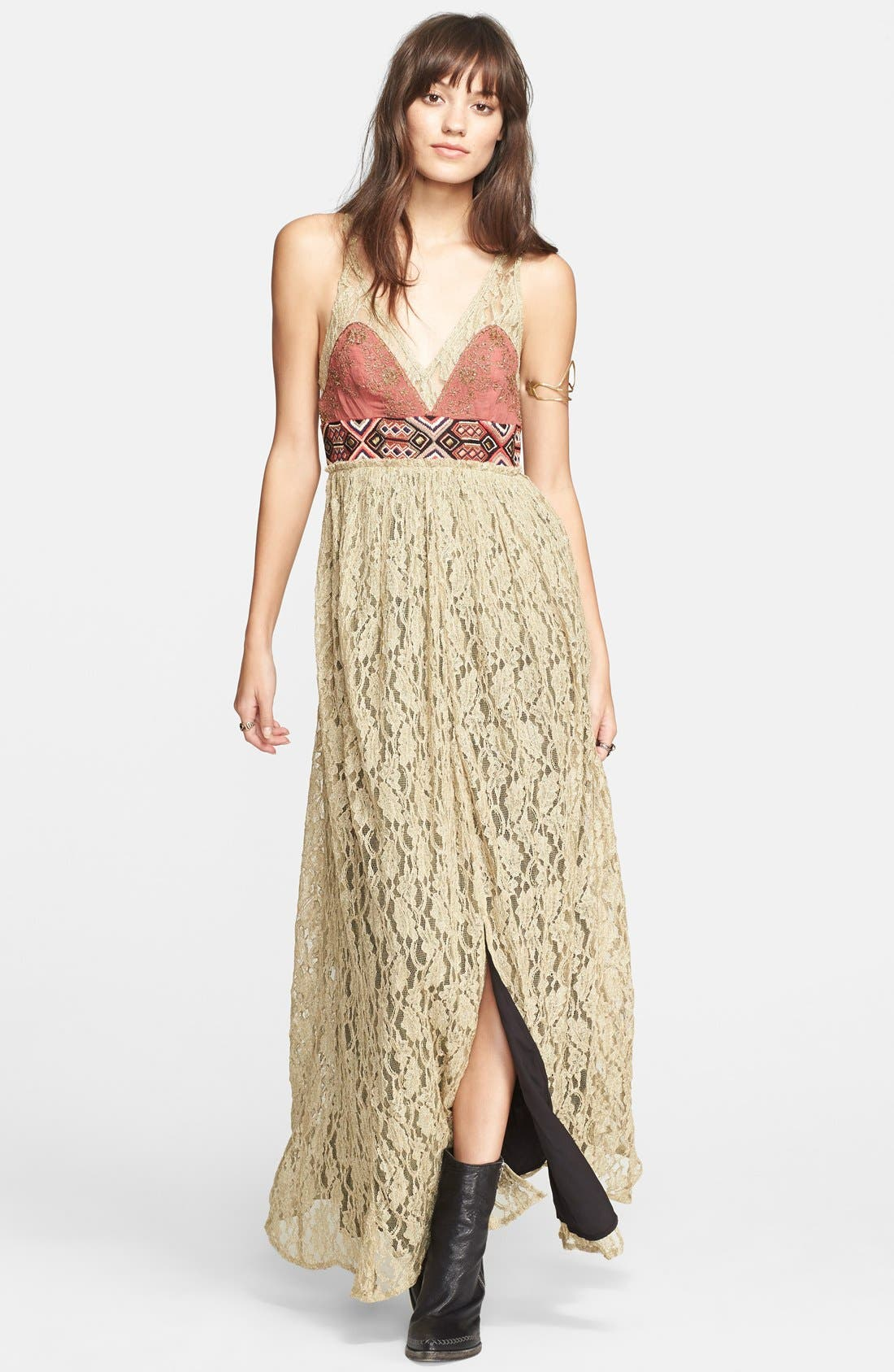 Alternate Image 1 Selected - Free People Crushed Gold Lace Dress