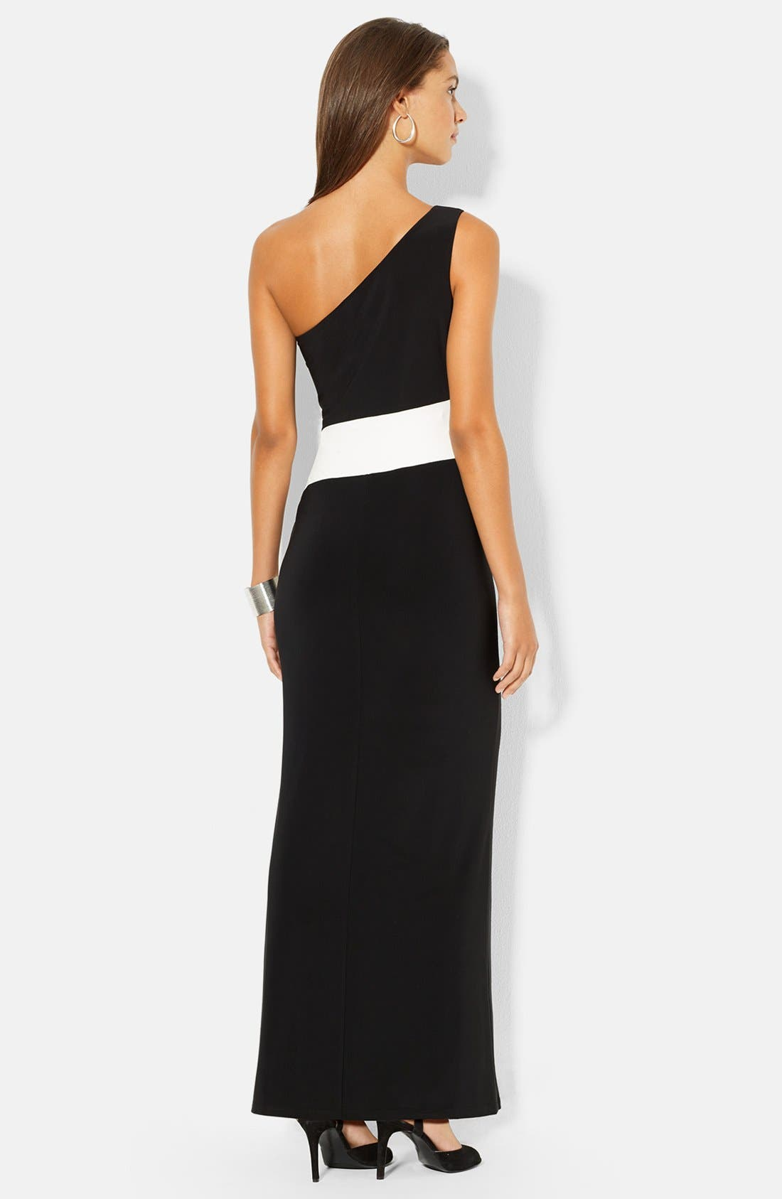 Alternate Image 2  - Lauren Ralph Lauren One-Shoulder Two-Tone Jersey Gown