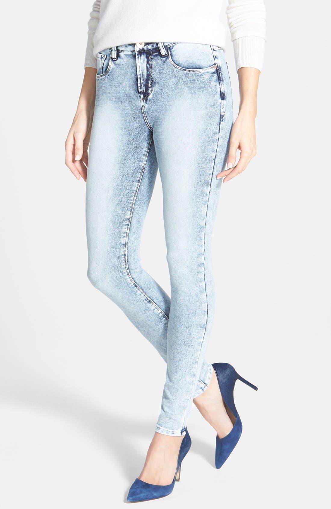 Main Image - kensie 'Ankle Biter' Acid Wash French Terry Skinny Jeans (Grey Acid)