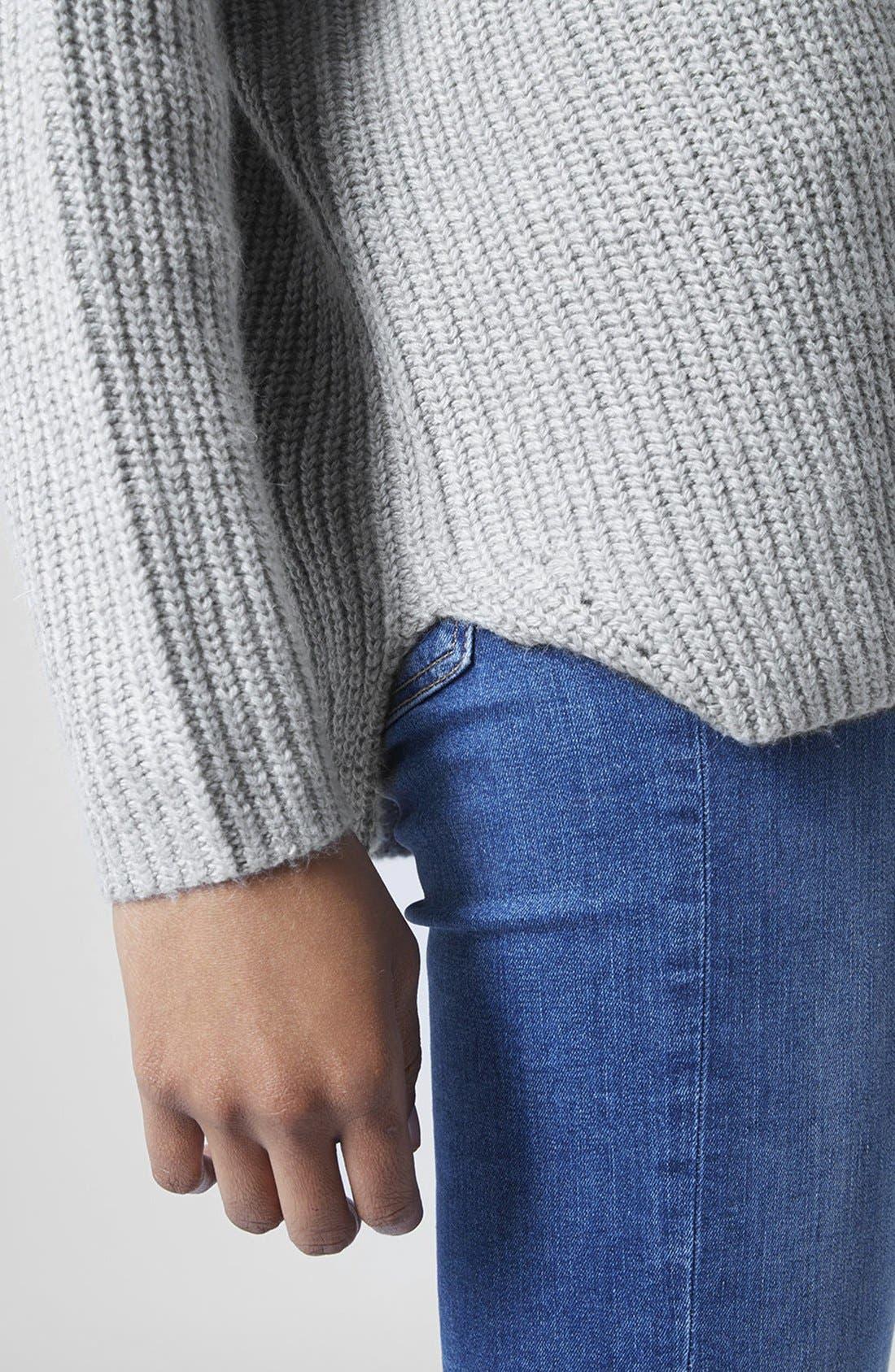 Alternate Image 4  - Topshop Double V-Neck Rib Sweater