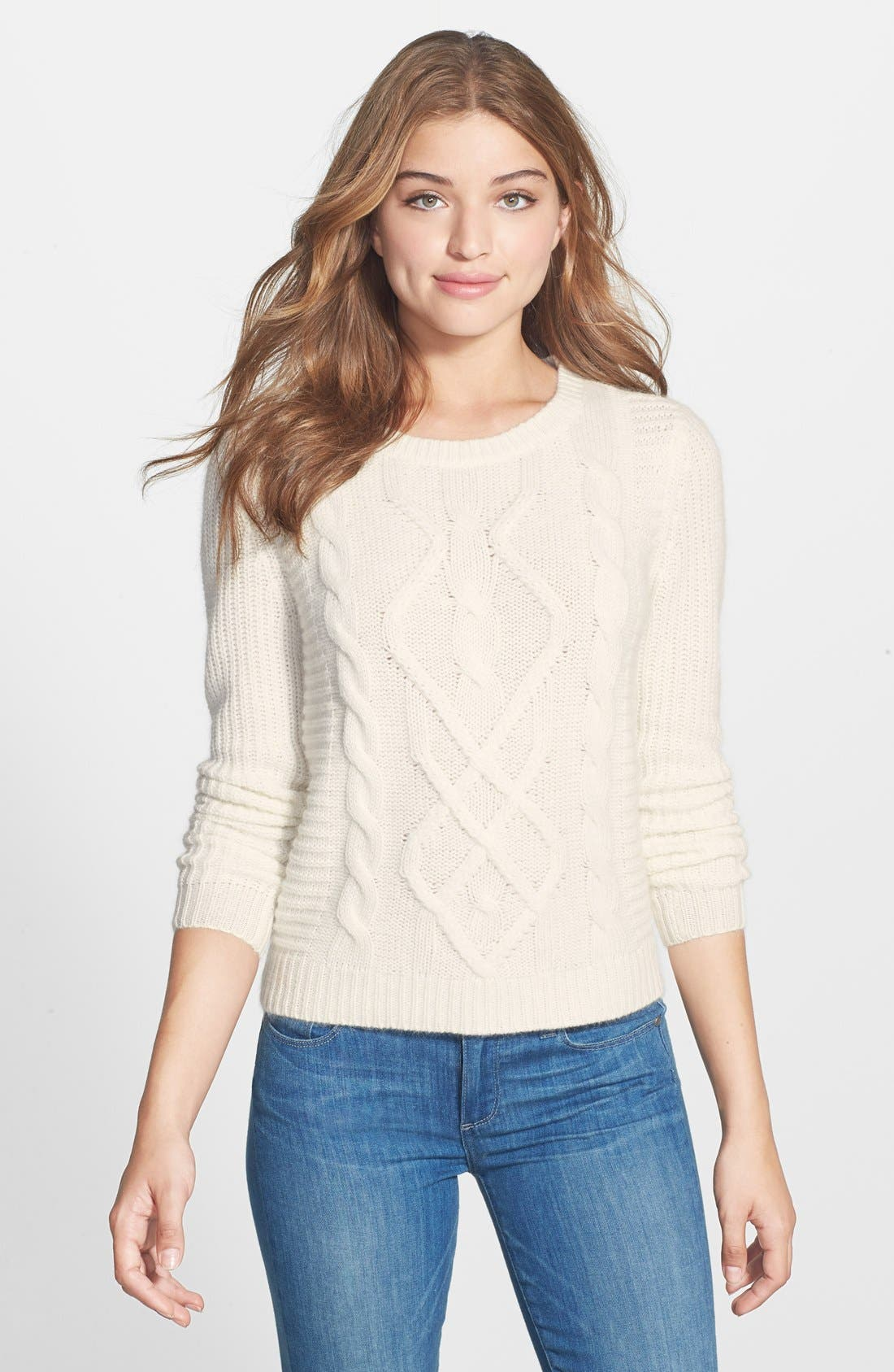 Alternate Image 1 Selected - Caslon® Cable Knit Sweater (Regular & Petite)