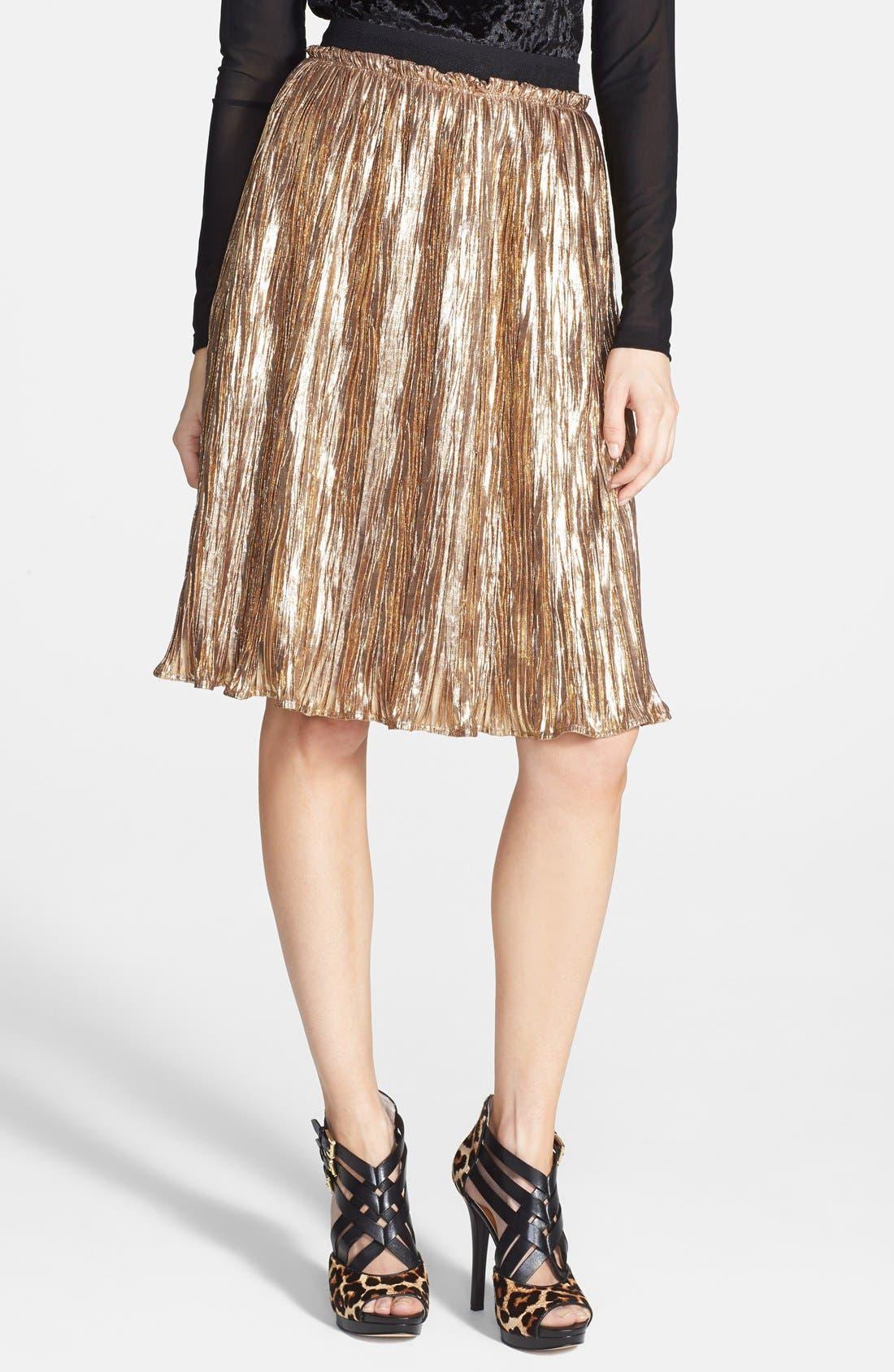 Main Image - ASTR Metallic Crinkle Midi Skirt