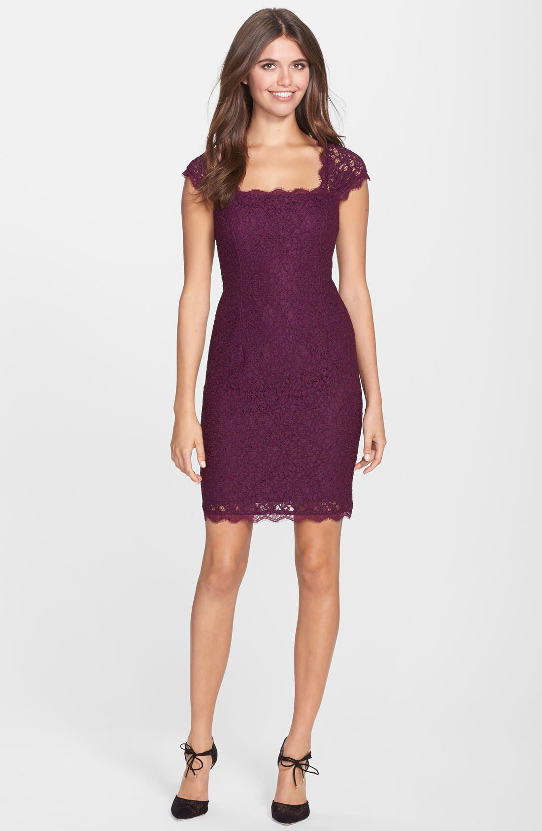 Alternate Image 3  - Adrianna Papell Lace Sheath Dress (Regular & Petite)