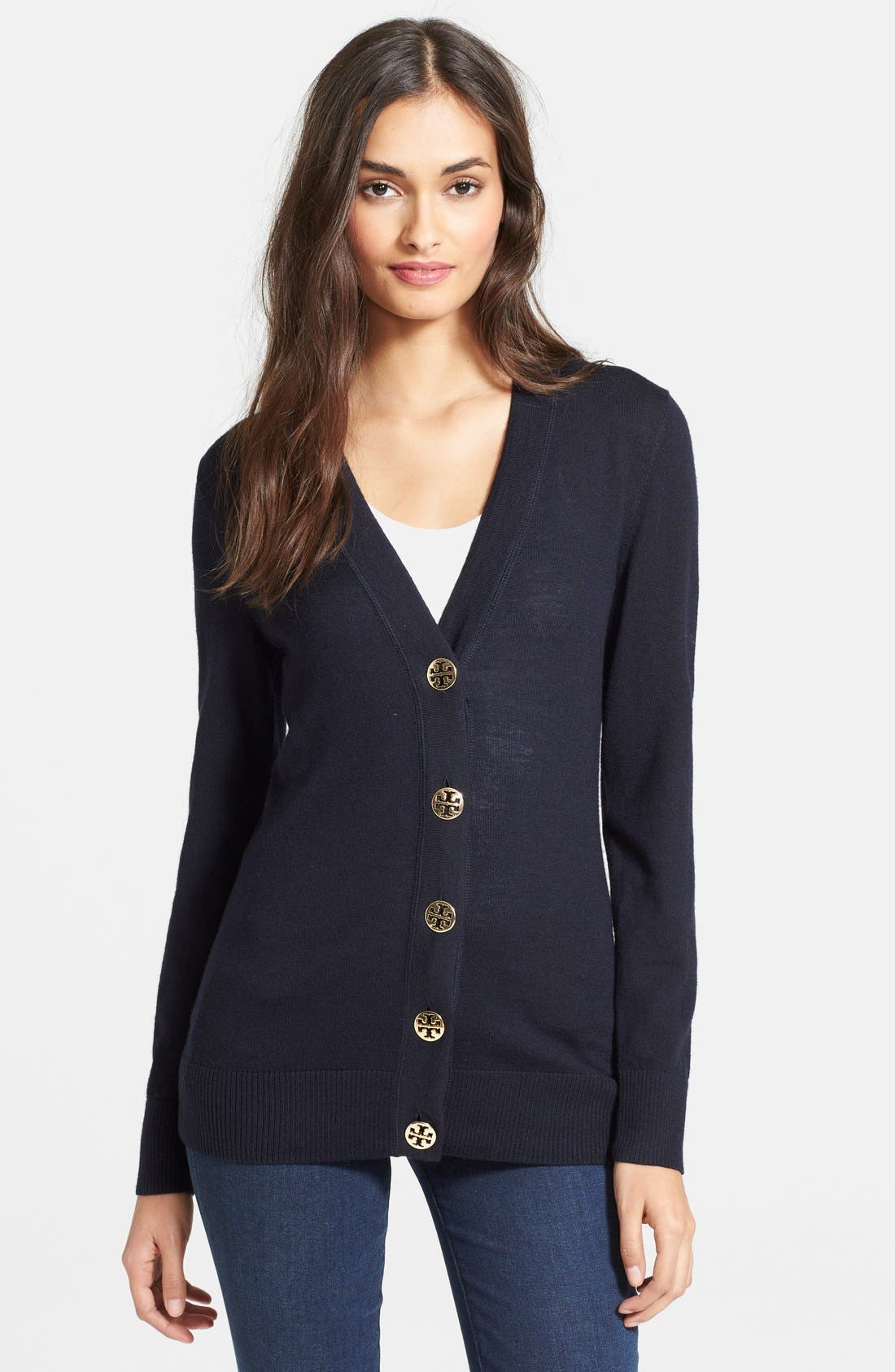 Alternate Image 1 Selected - Tory Burch 'Simone' Merino Cardigan