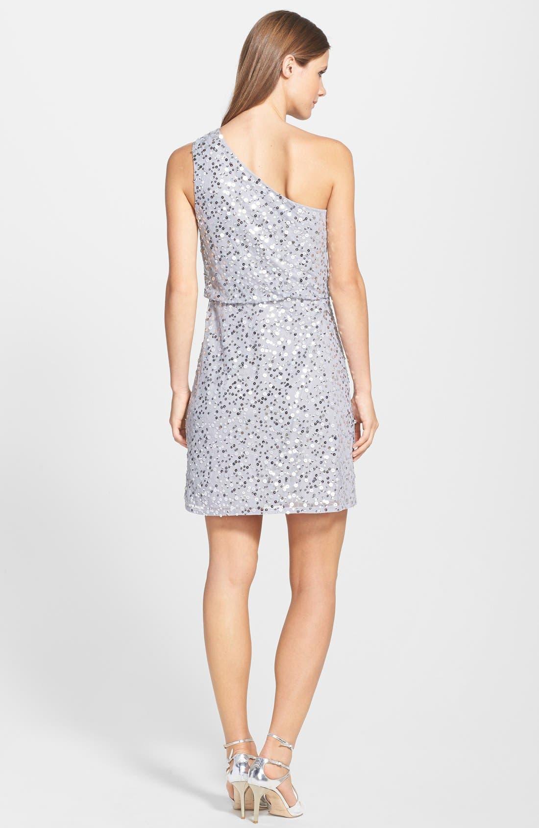 Alternate Image 2  - JS Boutique One Shoulder Sequin Blouson Dress