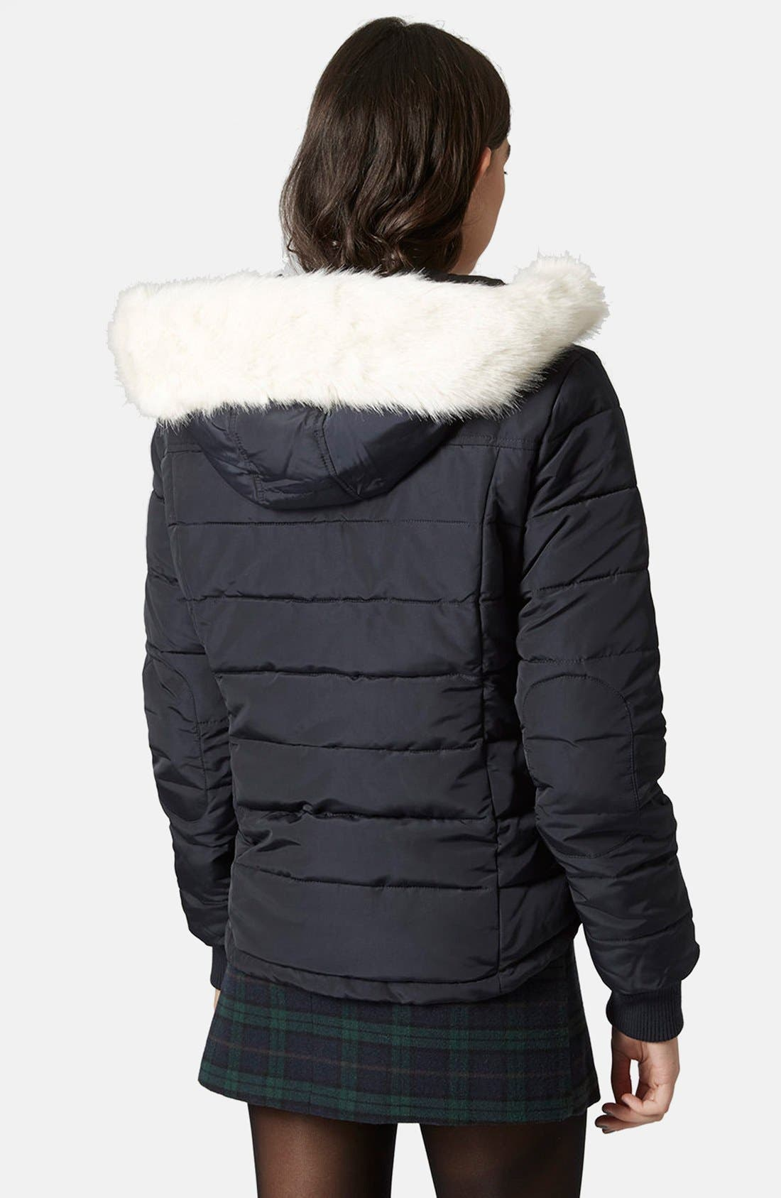 Alternate Image 2  - Topshop Faux Fur Trim Puffer Jacket