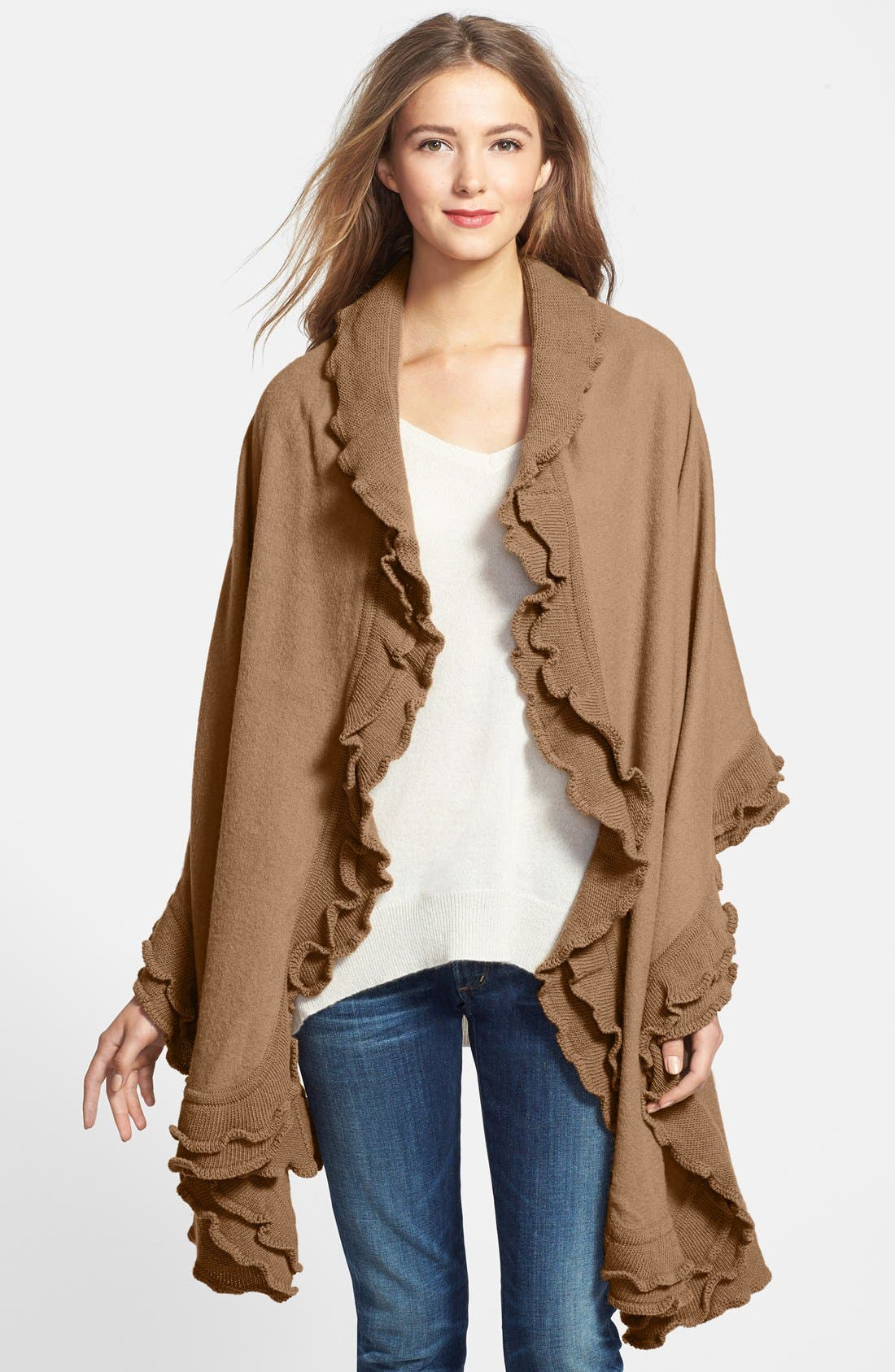 Alternate Image 1 Selected - Nordstrom Double Ruffle Wool Wrap