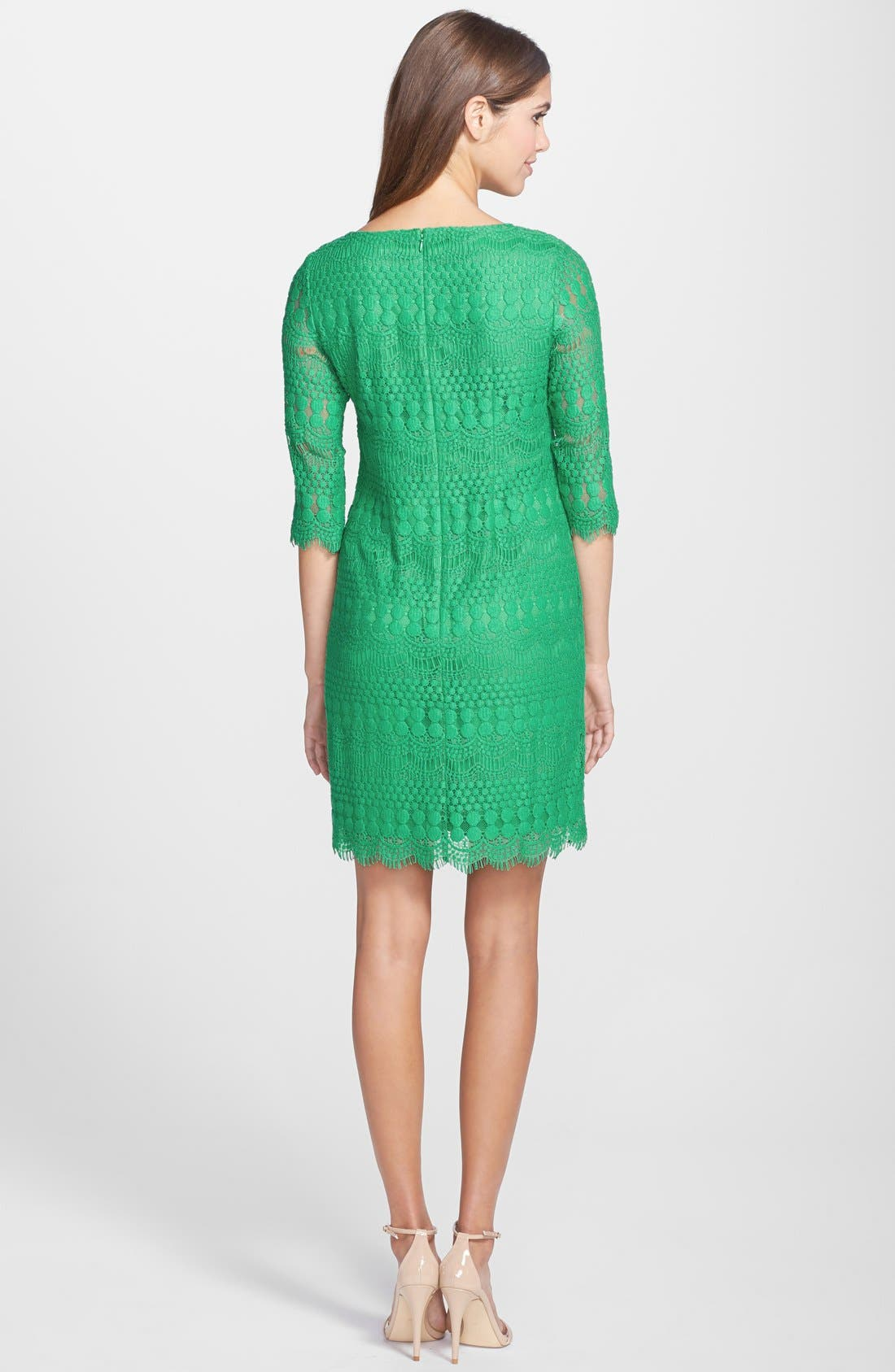Alternate Image 2  - Eliza J Scalloped Lace Shift Dress (Petite)