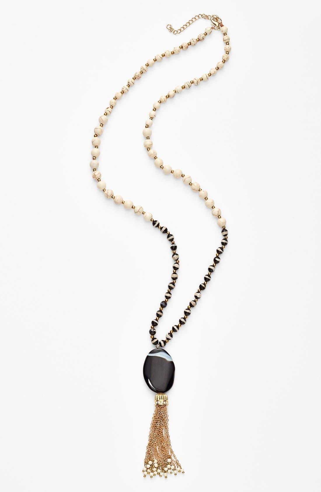 Main Image - Panacea Black & White Stone Tassel Necklace