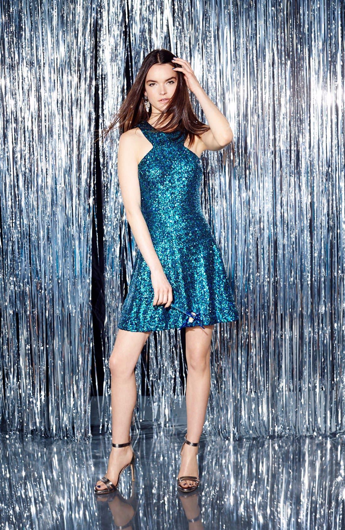 Alternate Image 6  - Dress the Population 'Helene' Sequin Fit & Flare Dress