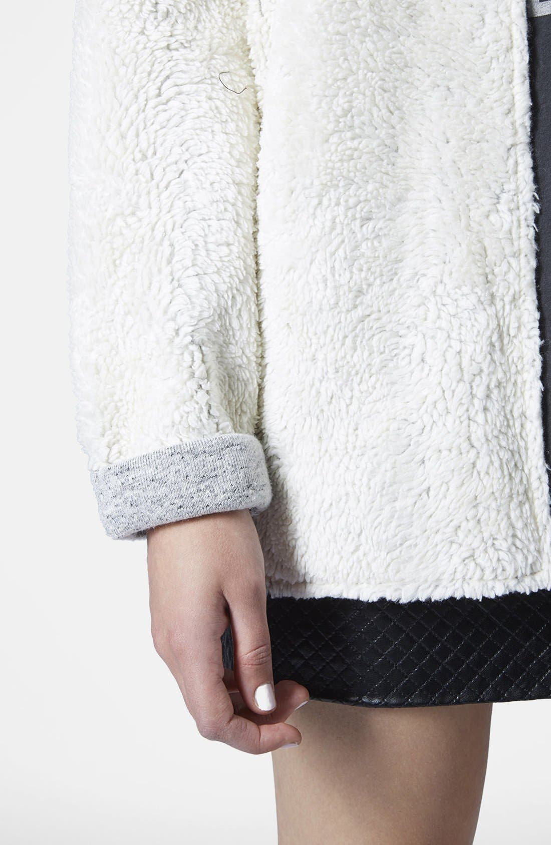 Alternate Image 4  - Topshop Faux Shearling Open Front Cardigan