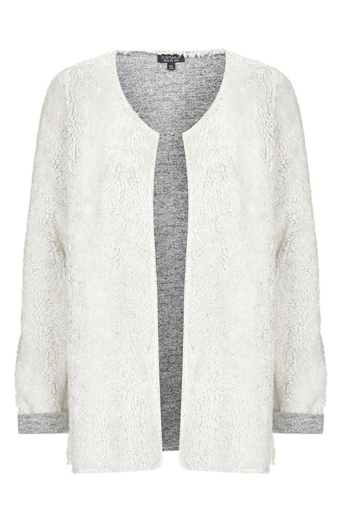 Alternate Image 3  - Topshop Faux Shearling Open Front Cardigan