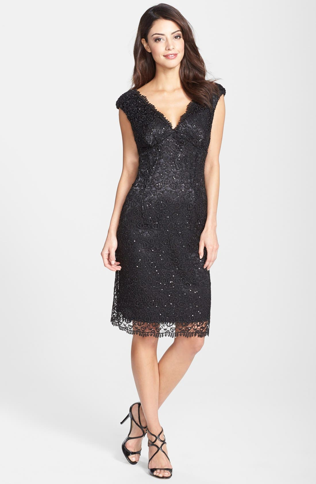 Alternate Image 3  - Marina Metallic Lace Sheath Dress