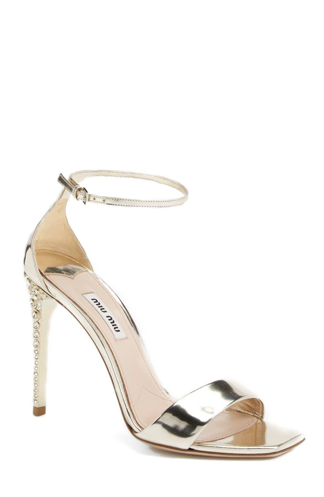 Alternate Image 1 Selected - Miu Miu Metallic Ankle Strap Sandal (Women)
