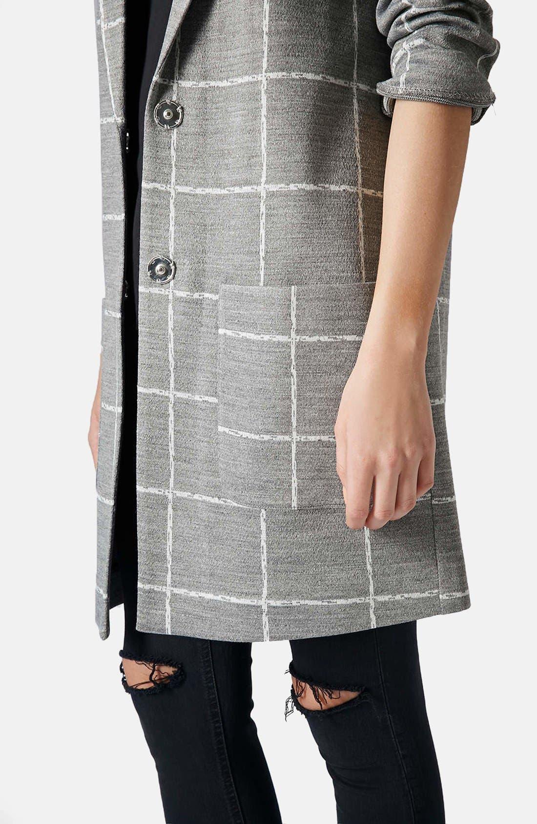 Alternate Image 4  - Topshop Grid Check Slim Coat
