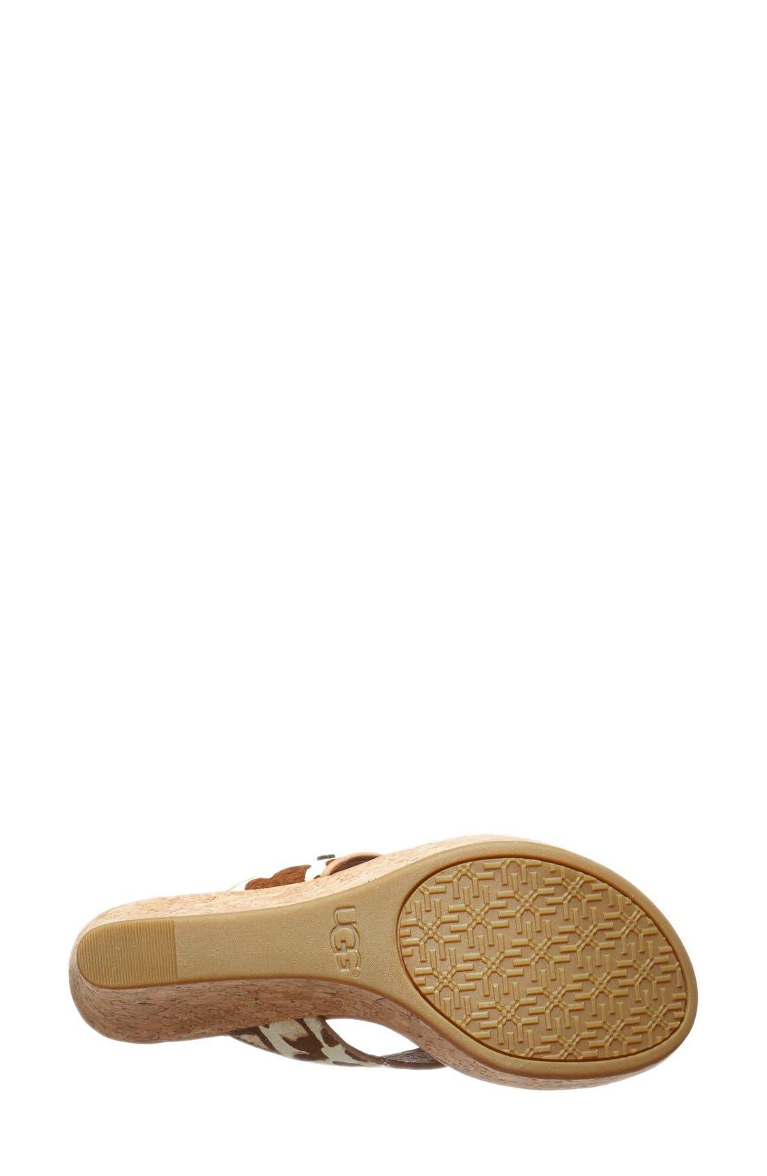 Alternate Image 4  - UGG Australia 'Natassia' Calf Hair Wedge Sandal (Women)