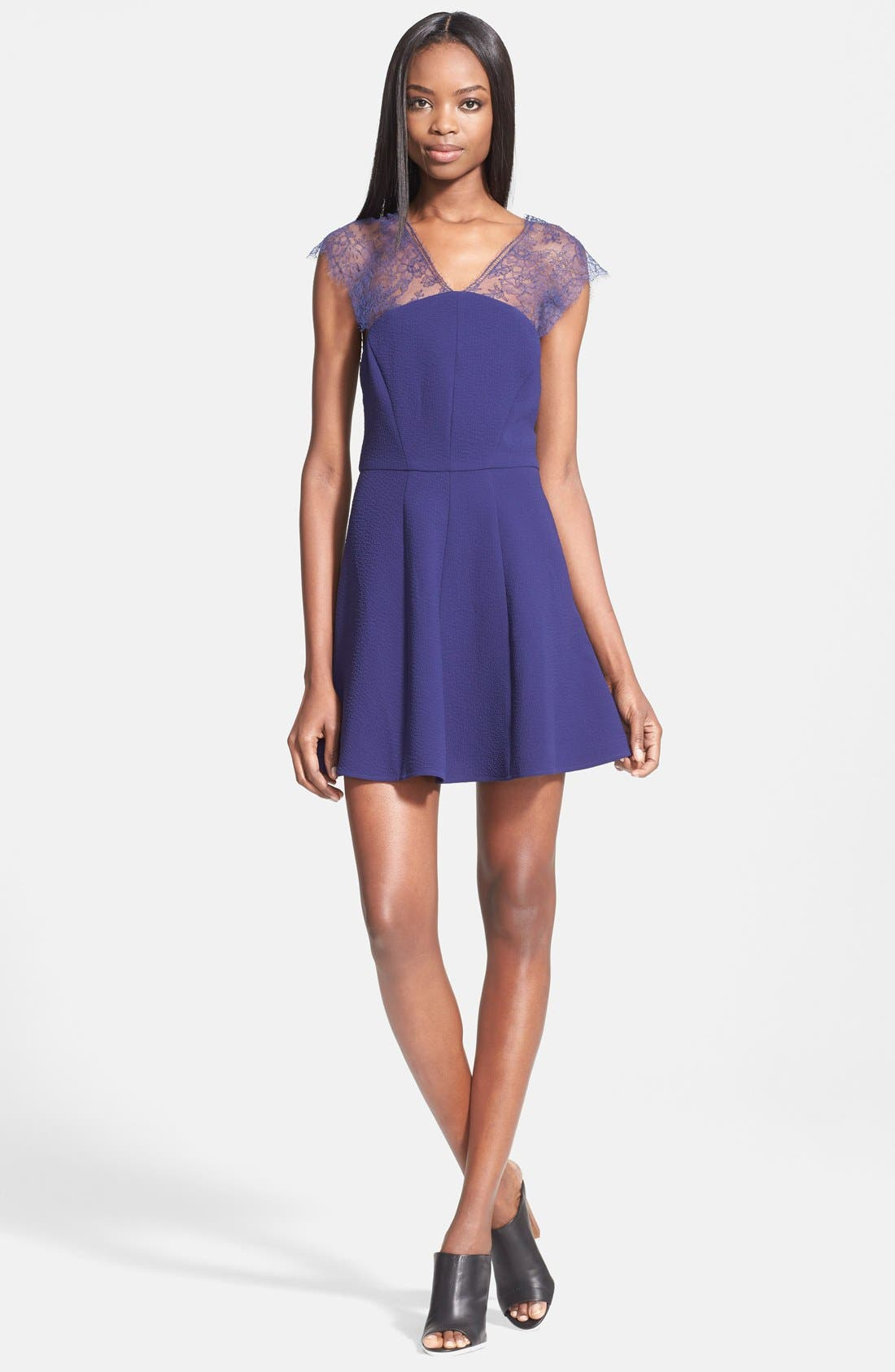 Main Image - The Kooples Lace Yoke Crepe Fit & Flare Dress