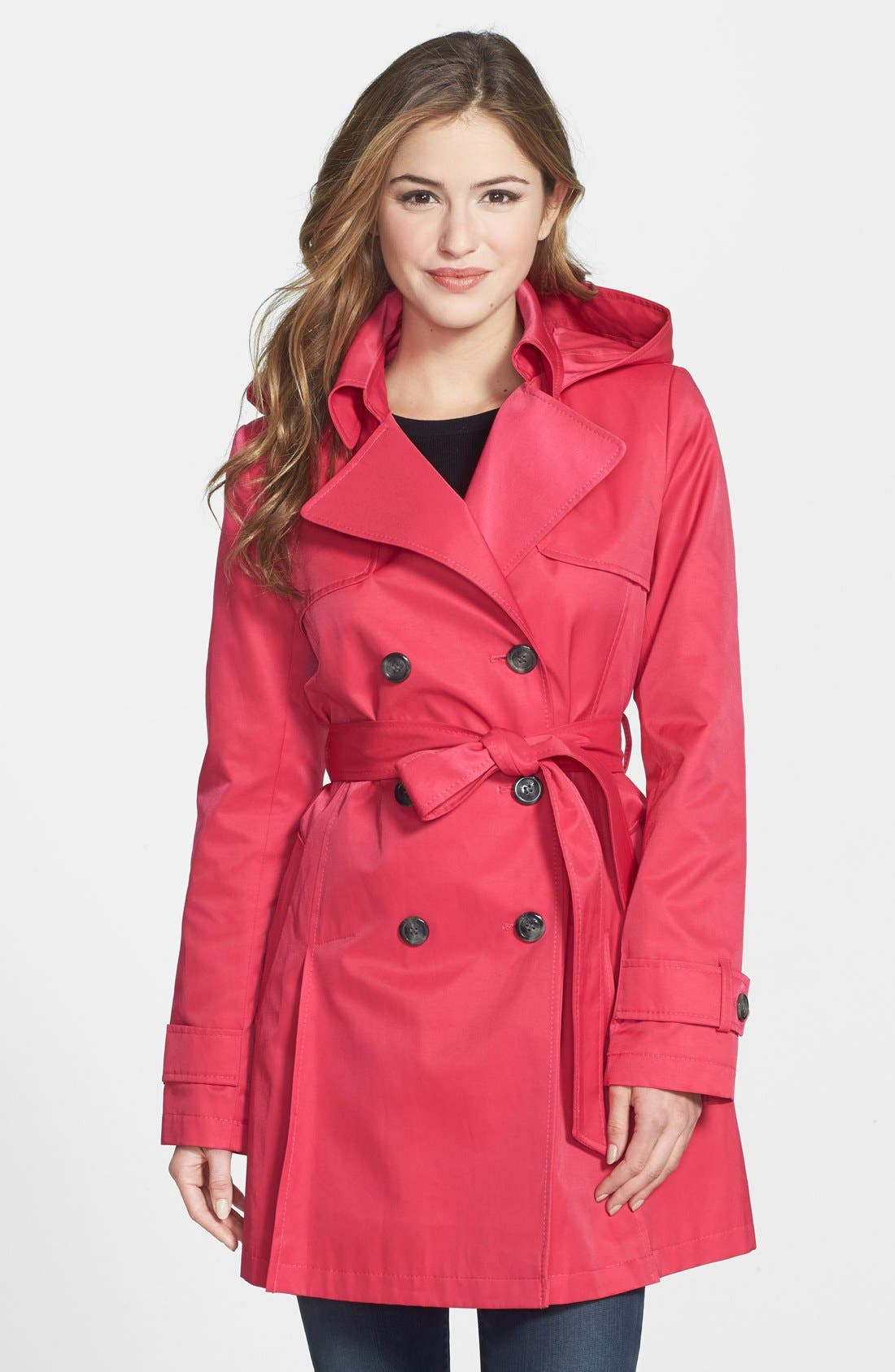 Main Image - DKNY 'Abby' Double Breasted Trench Coat with Detachable Hood (Regular & Petite)