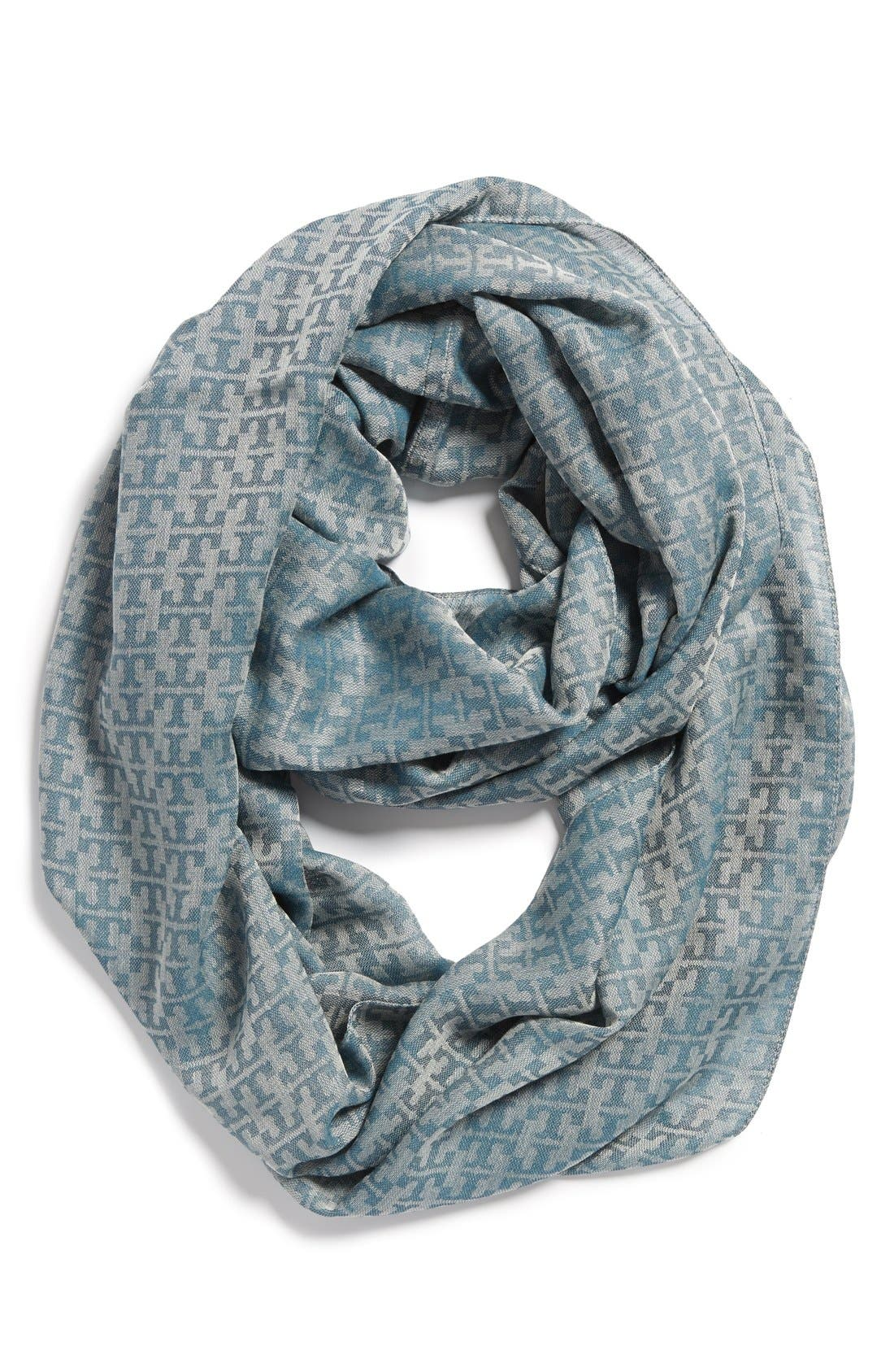 Alternate Image 1 Selected - Tory Burch 'Stacked T' Jacquard Infinity Scarf