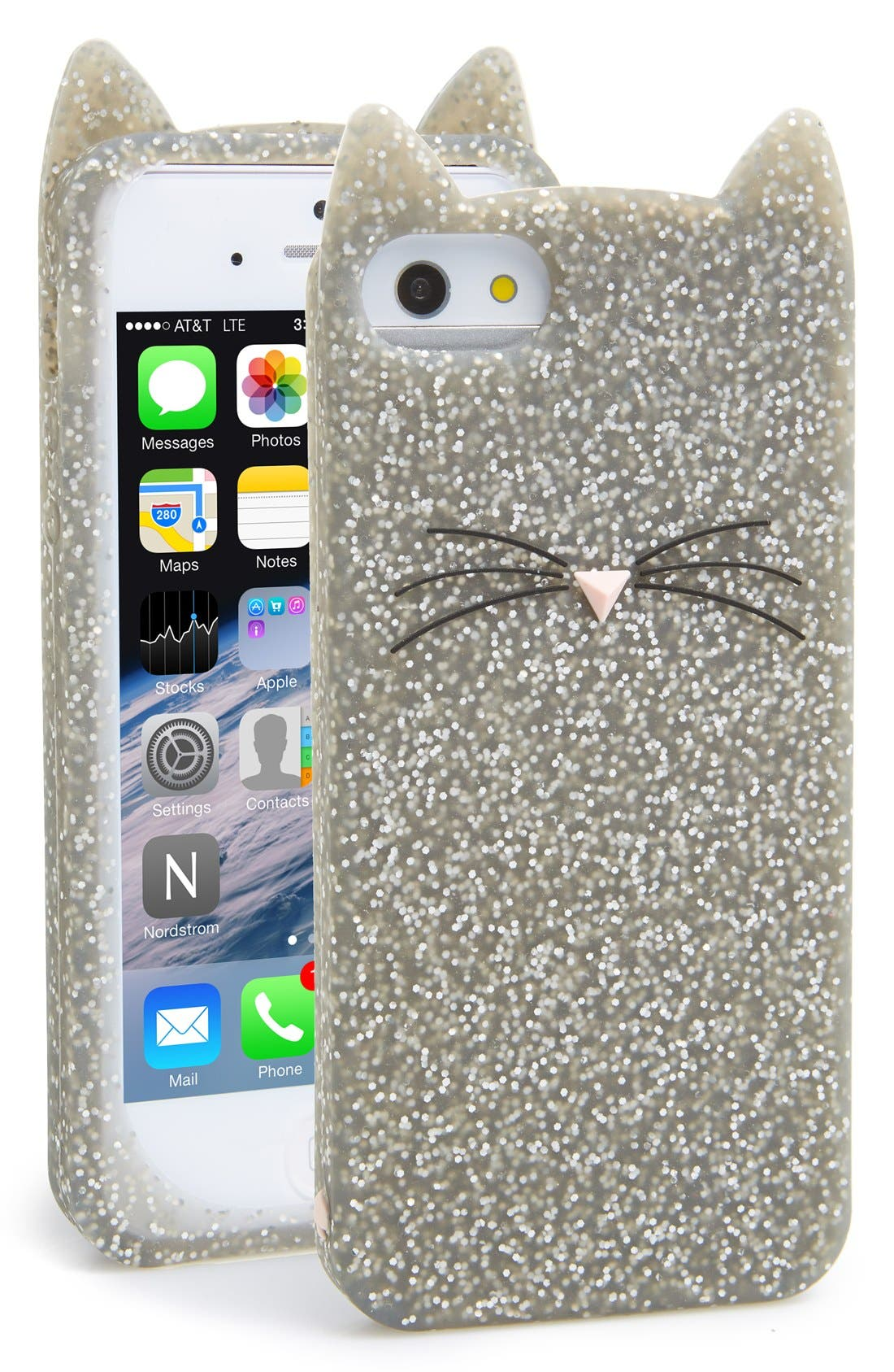 Alternate Image 1 Selected - kate spade new york 'glitter cat' iPhone 5 & 5s case