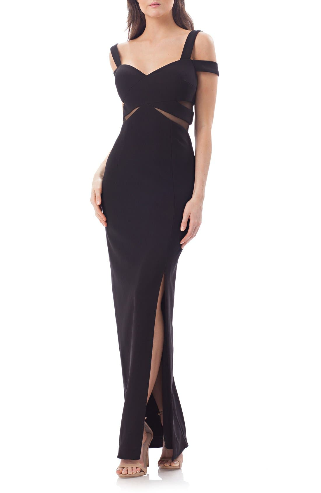 Alternate Image 1 Selected - JS Collections Cold Shoulder Gown