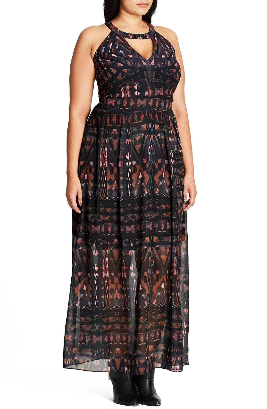 Alternate Image 3  - City Chic So Abstract Cutout Bodice Maxi Dress (Plus Size)