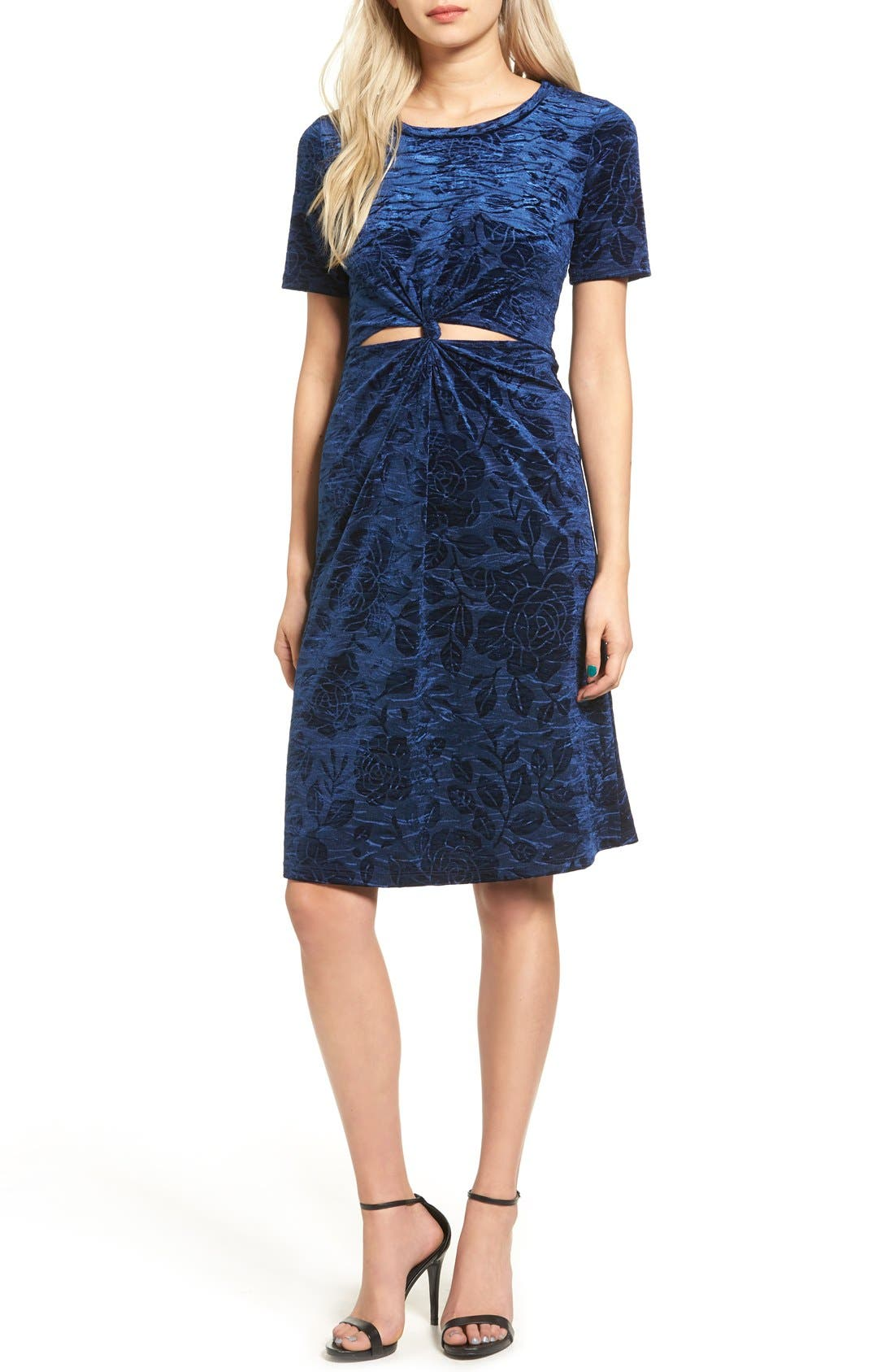Main Image - Everly Floral Velvet Cutout Dress