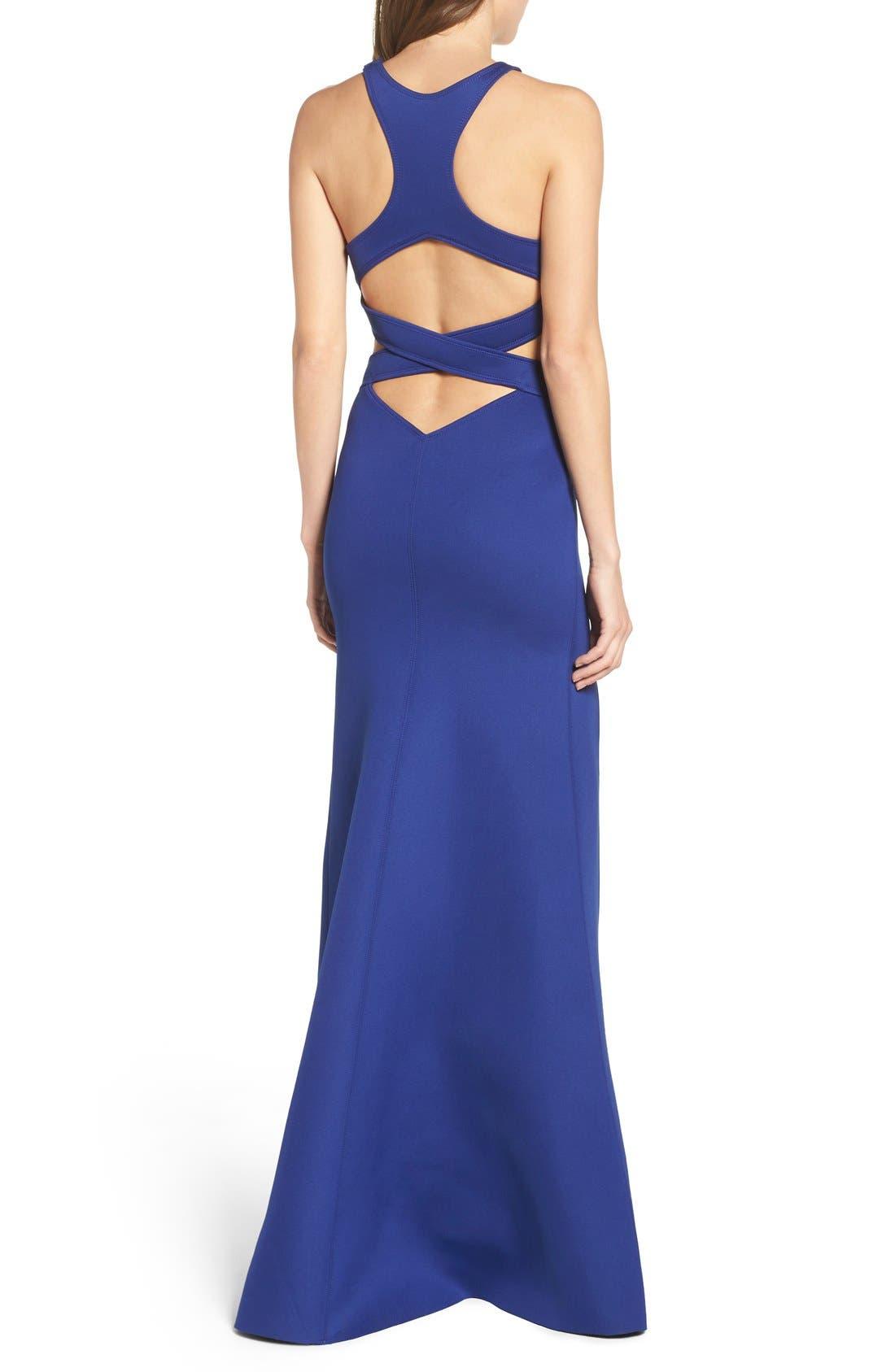 Alternate Image 2  - La Femme Cutout Scuba Gown