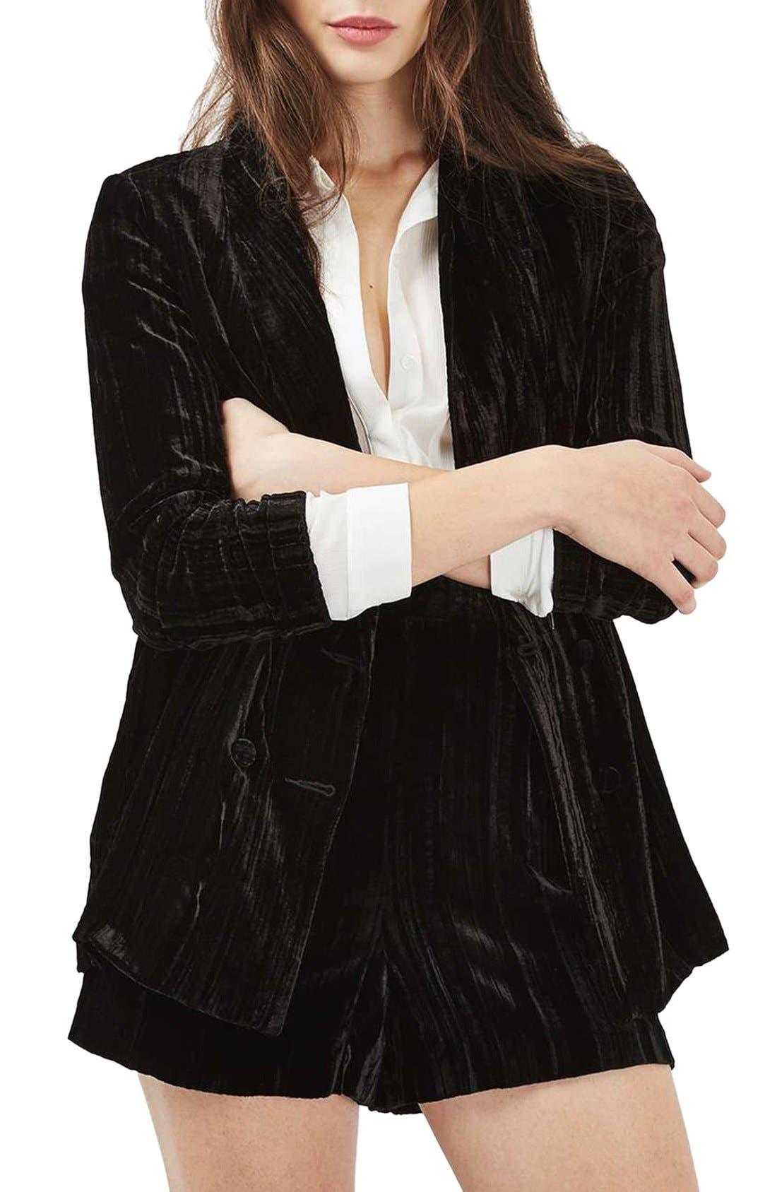 Main Image - Topshop Pleat Velvet Blazer