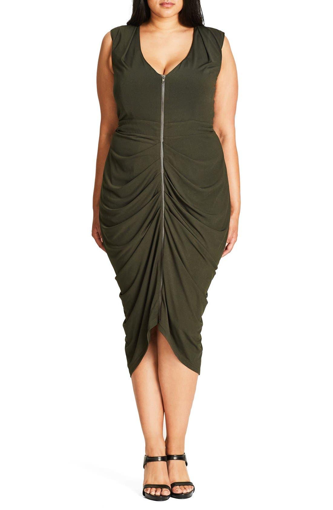 City Chic Sexy Drape Midi Dress (Plus Size)