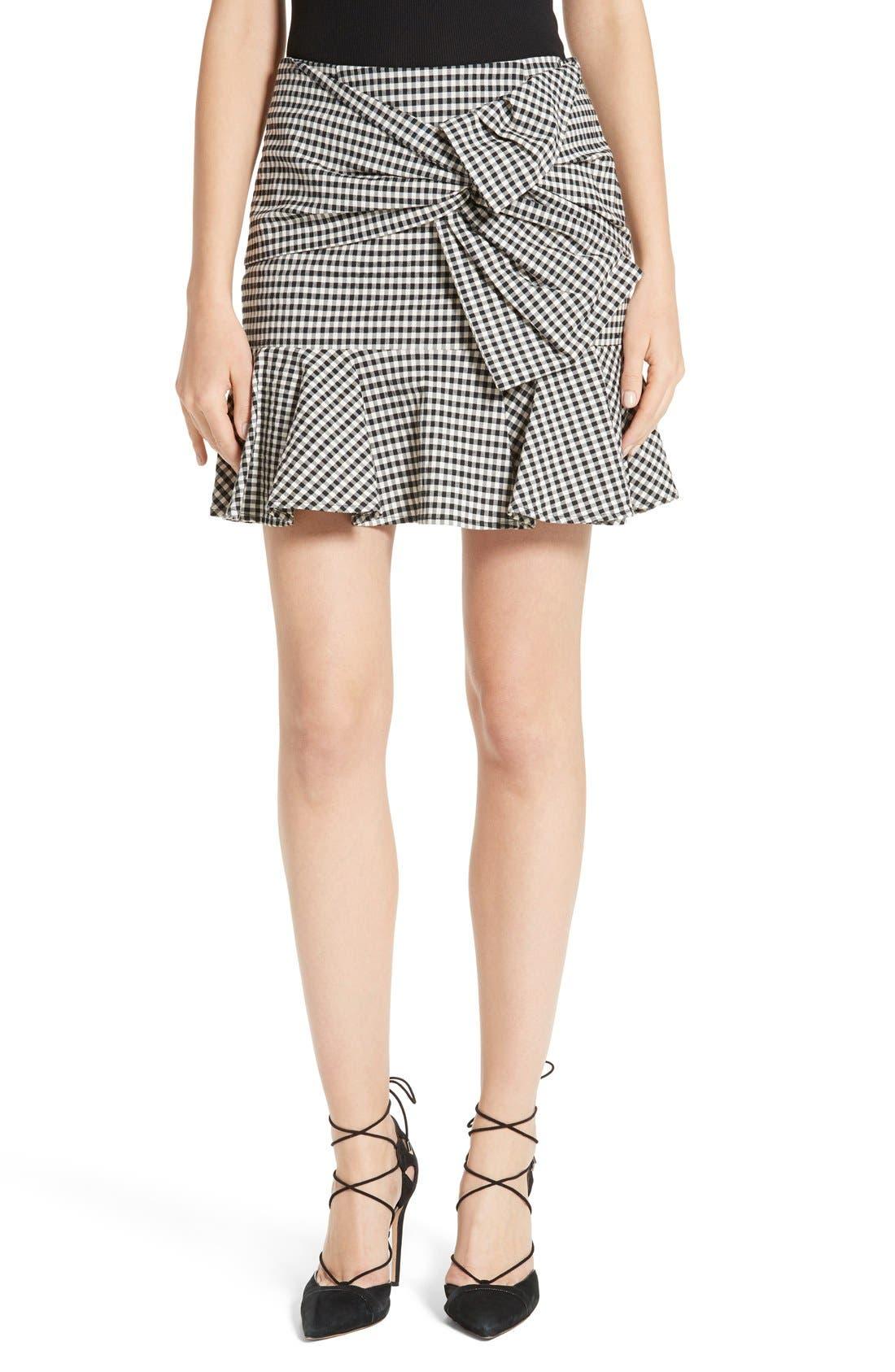 Alternate Image 1 Selected - Veronica Beard Picnic Check Bow Miniskirt