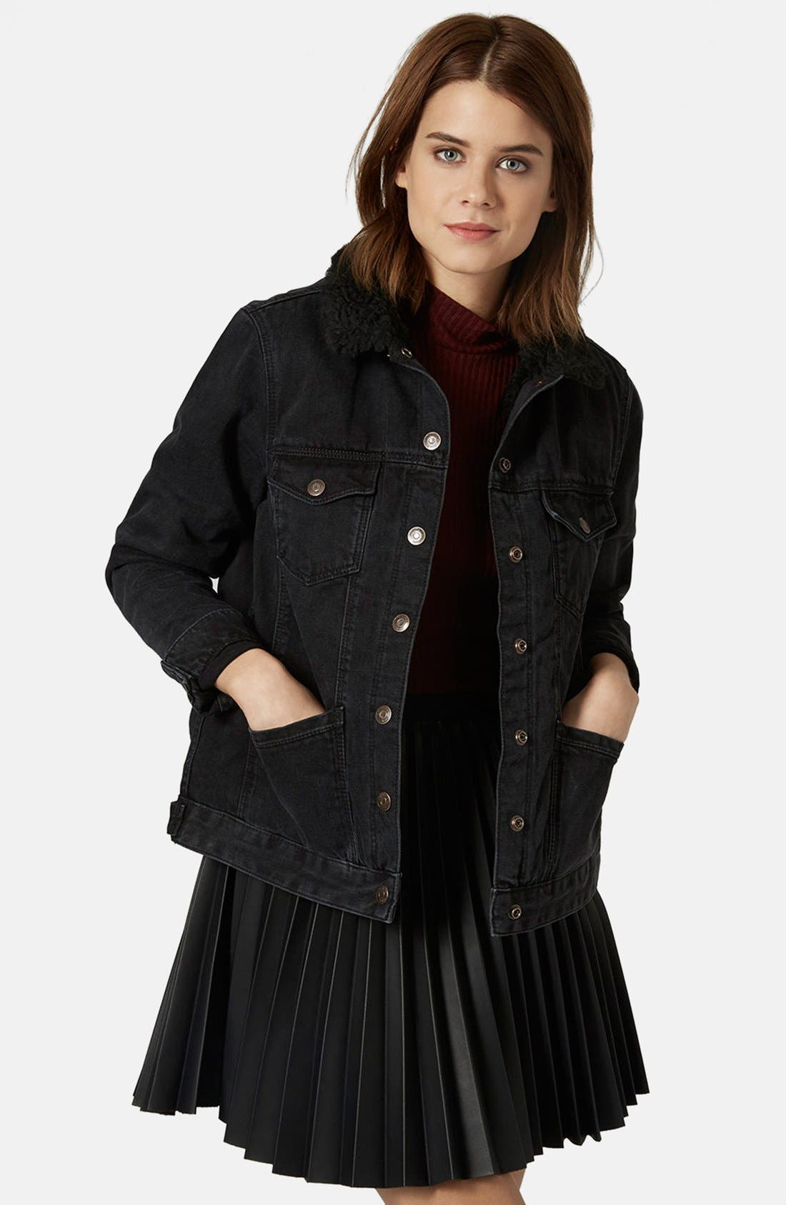 Main Image - Topshop Denim Jacket with Faux Shearling Collar