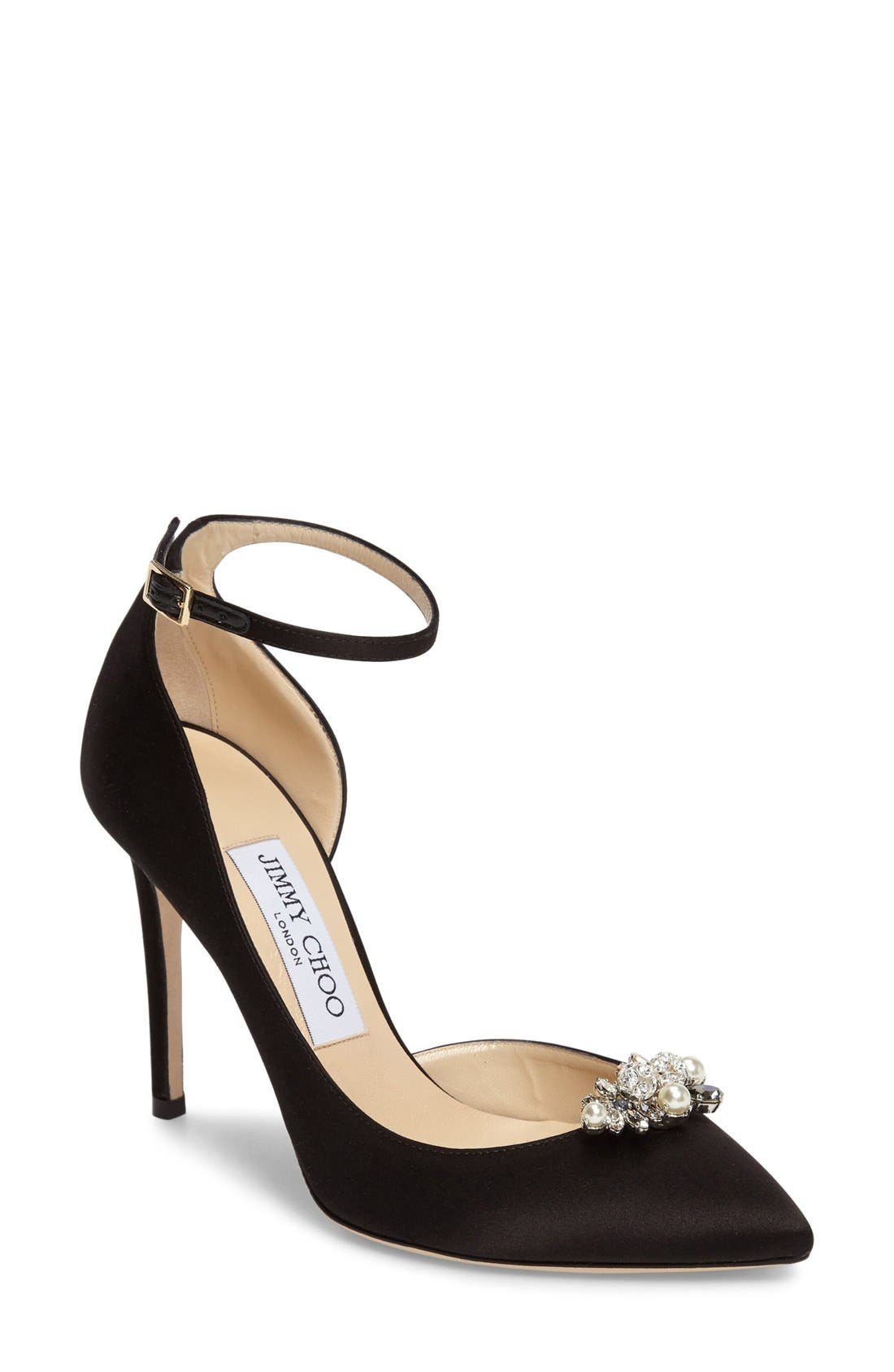 Alternate Image 1 Selected - Jimmy Choo Rose d'Orsay Pump with Jeweled Clip (Women)
