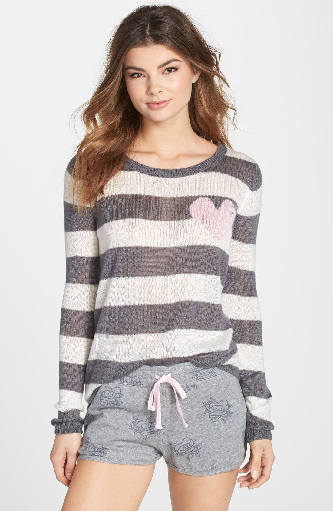 Alternate Image 1 Selected - PJ Salvage 'Sweet Hearts' Striped Sweater