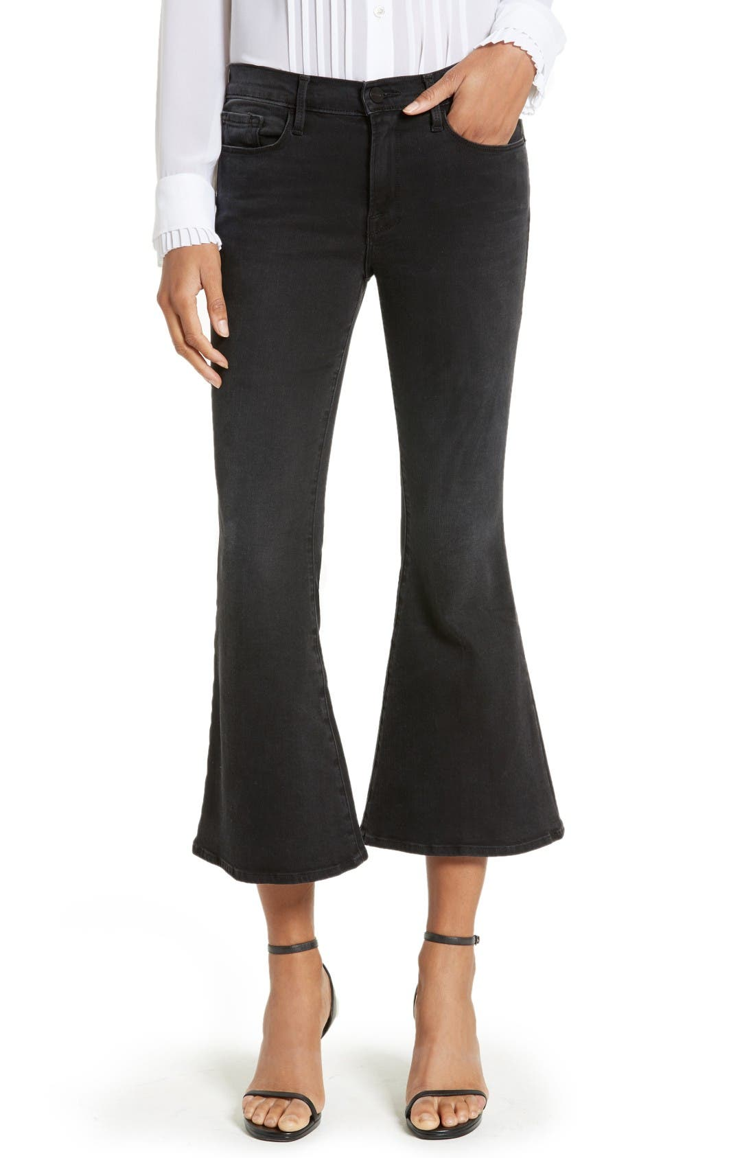 Alternate Image 1 Selected - FRAME Le Crop Bell High Waist Crop Jeans (Whittier)
