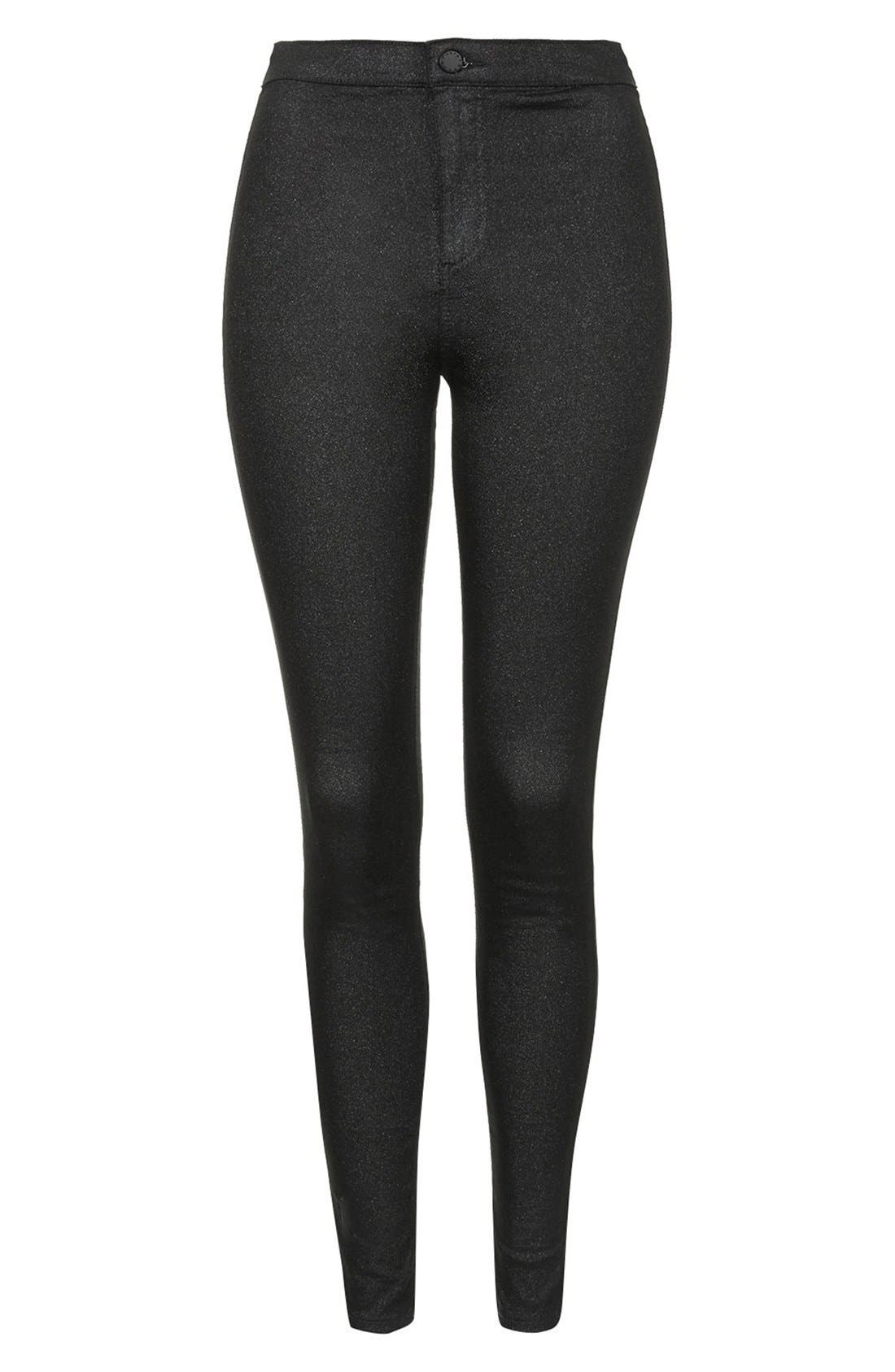 Alternate Image 3  - Topshop Moto 'Joni' Glitter Skinny Jeans (Black) (Regular, Short & Long)