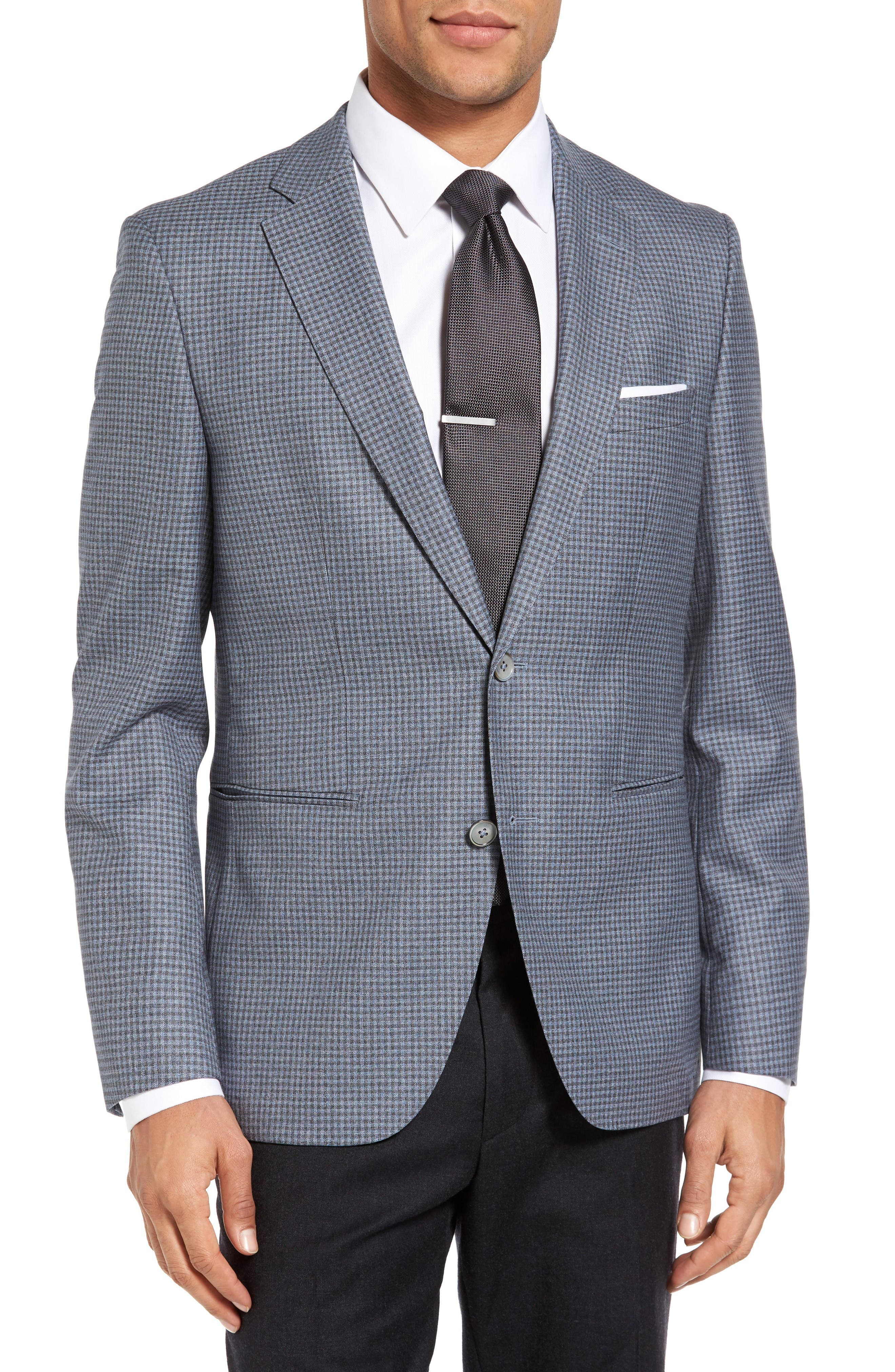 BOSS Jedson Trim Fit Check Wool Sport Coat
