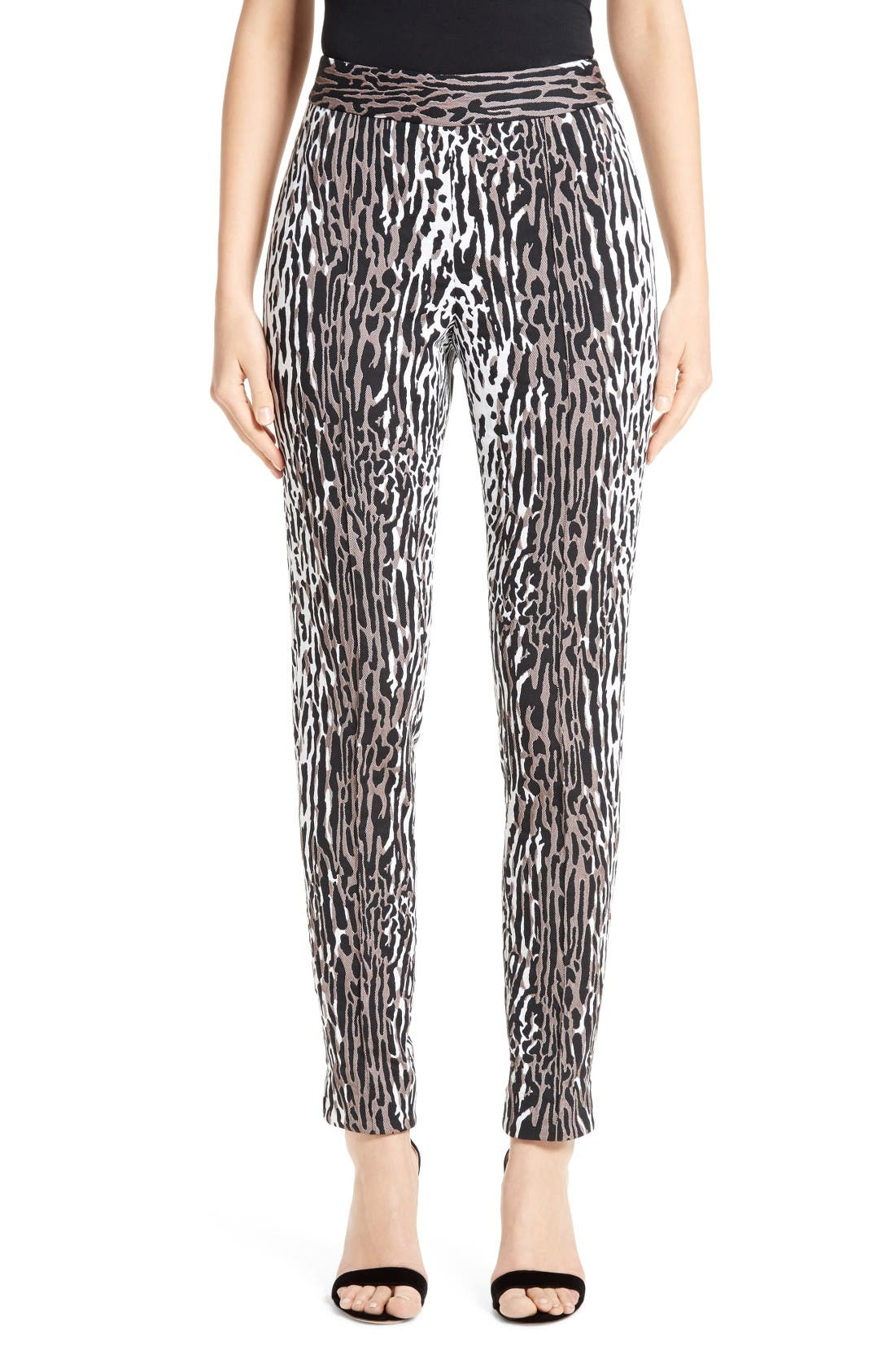 Alternate Image 1  - St. John Collection Leopard Jacquard Ankle Pants
