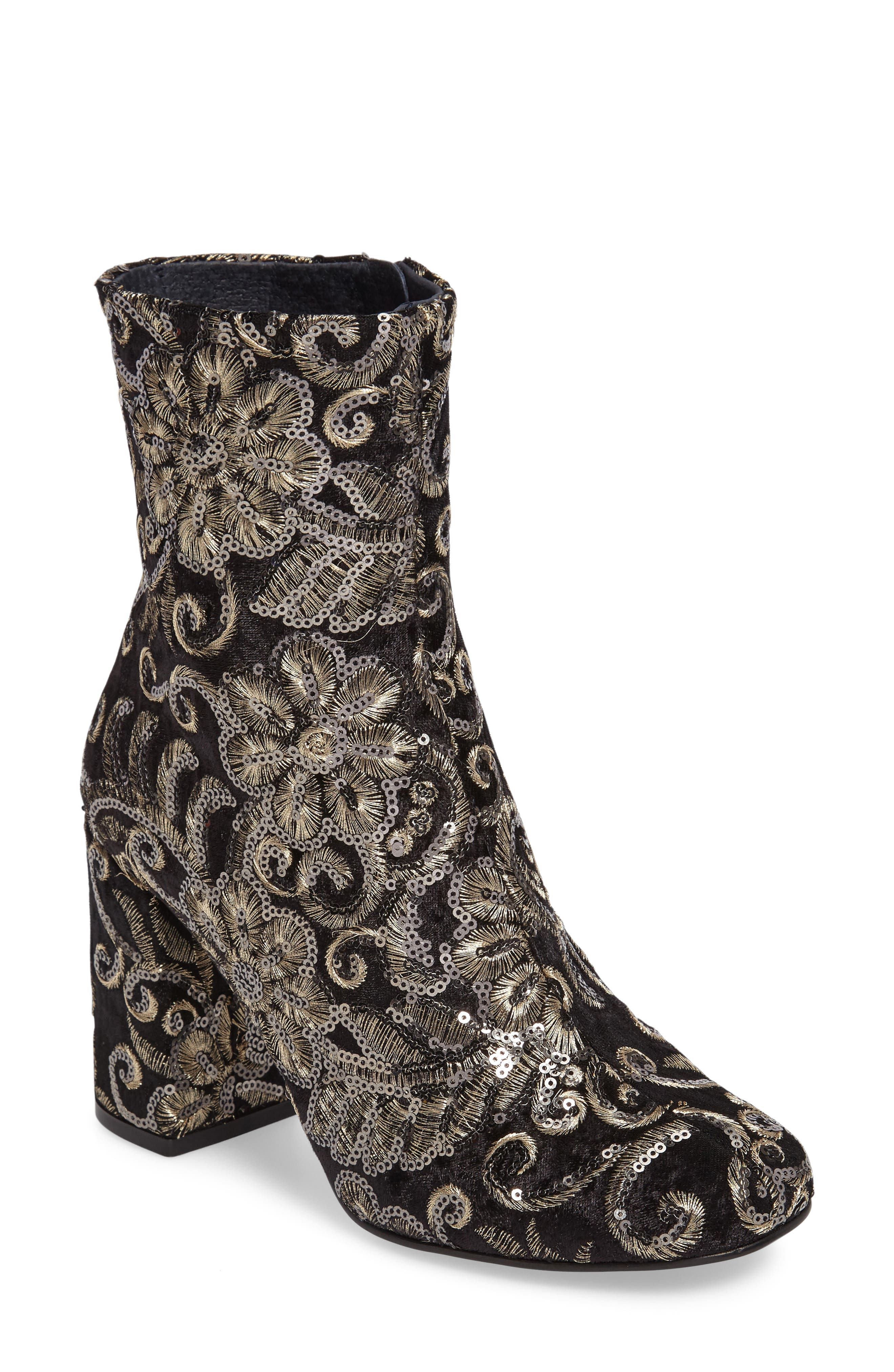 Alternate Image 1 Selected - Topshop Merlot Embroidered Bootie (Women)