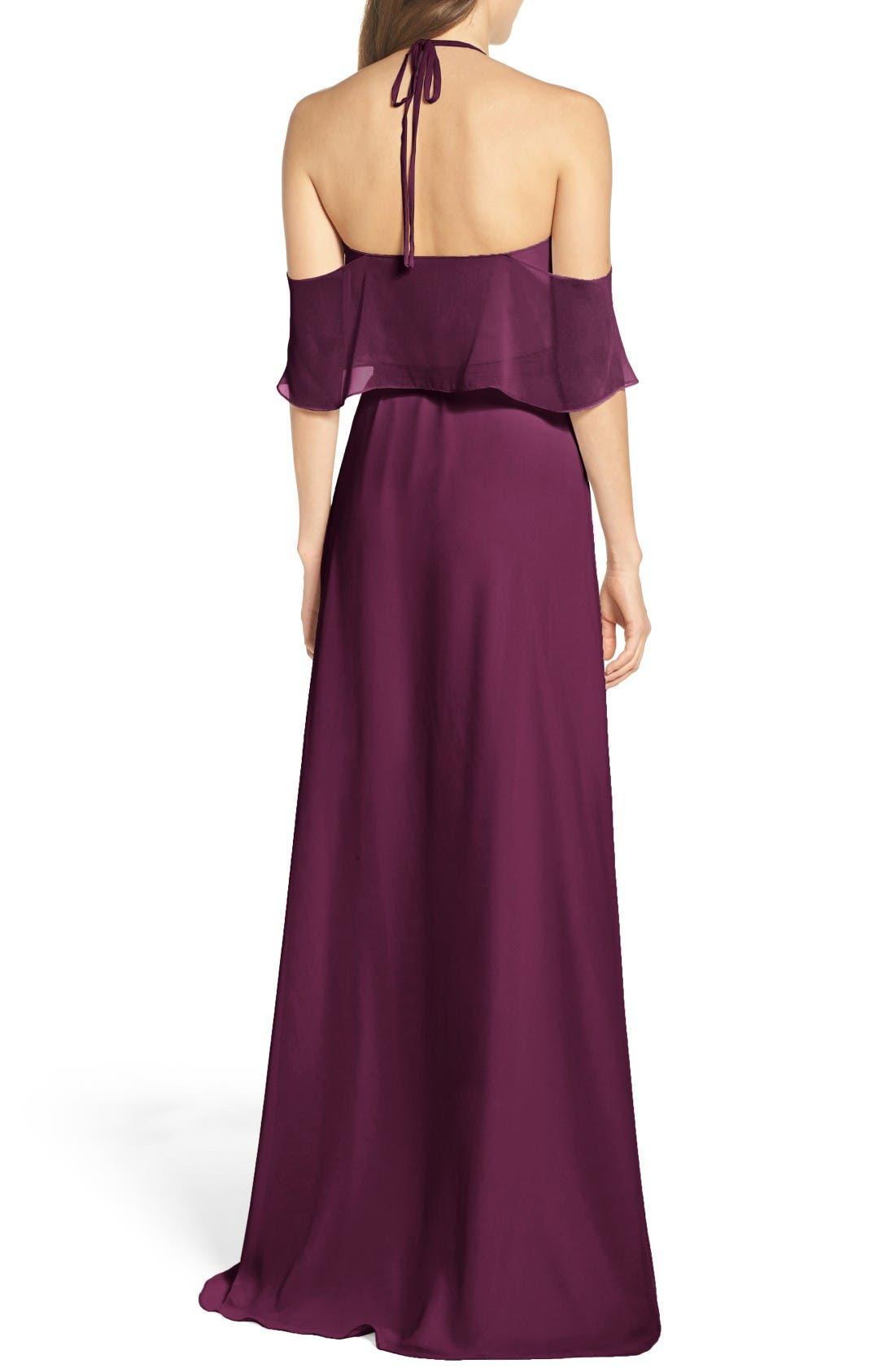 Alternate Image 3  - Ceremony by Joanna August Cold Shoulder Tie Waist Halter Gown