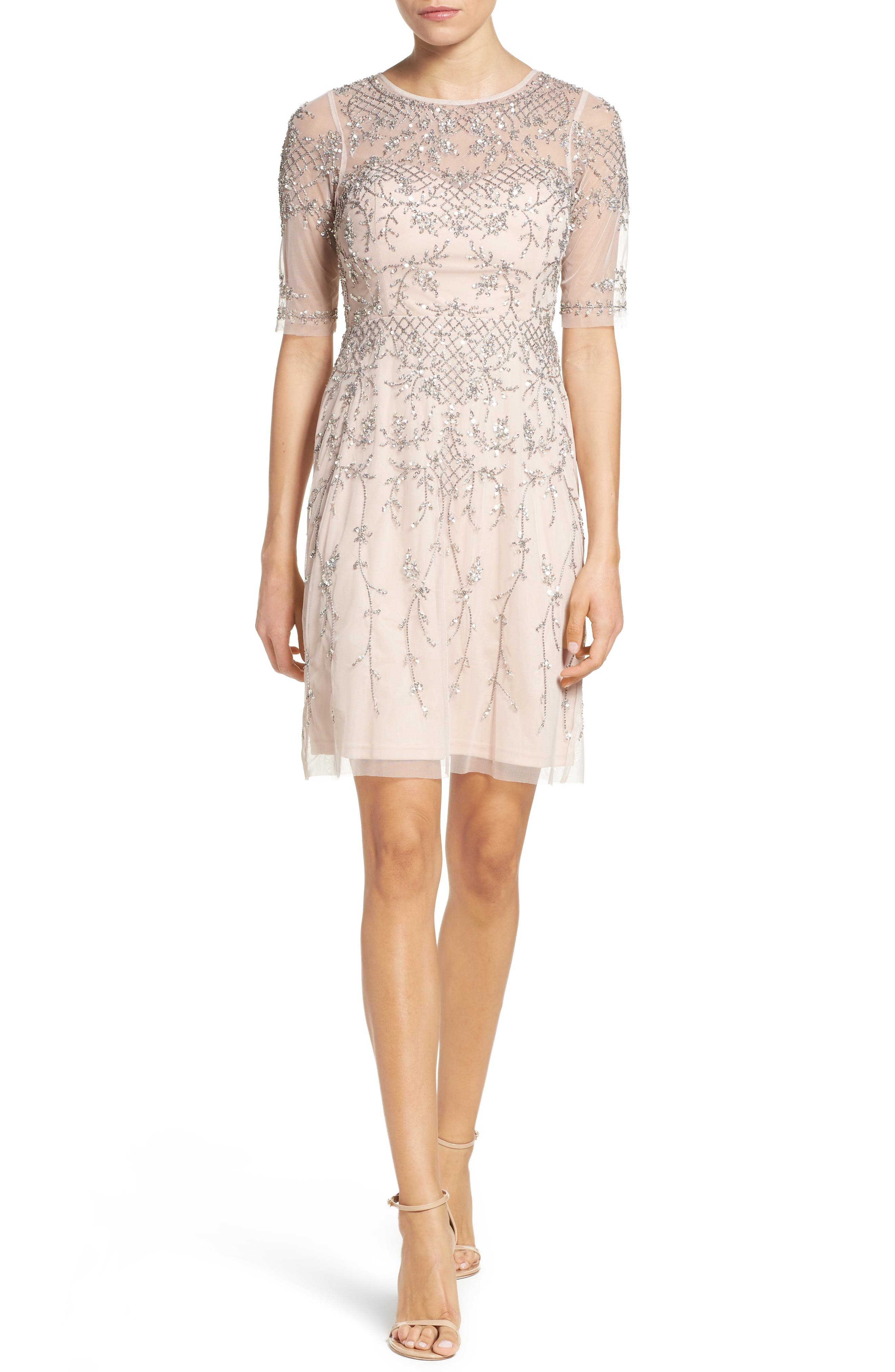 Main Image - Adrianna Papell Embellished Fit & Flare Dress (Regular & Petite)