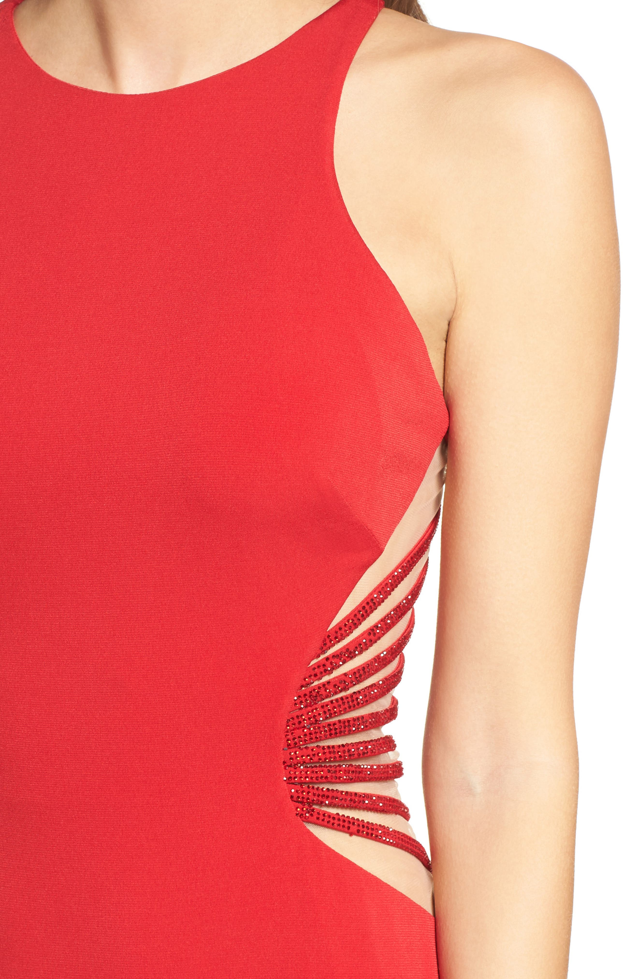 Alternate Image 4  - La Femme Illusion Back Jersey Gown
