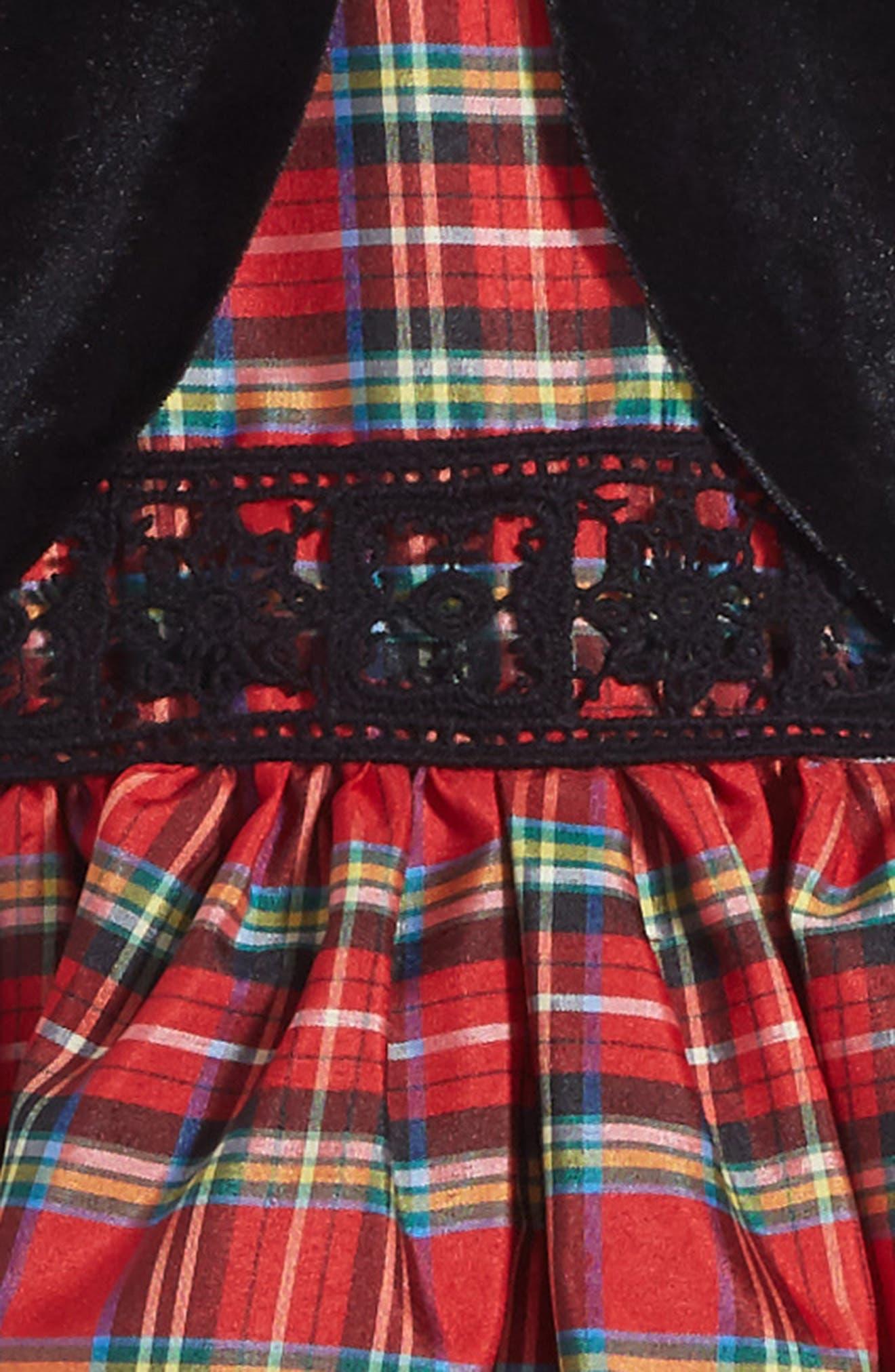 Alternate Image 4  - Pippa & Julie Plaid Dress & Velvet Jacket (Toddler Girls, Little Girls & Big Girls)