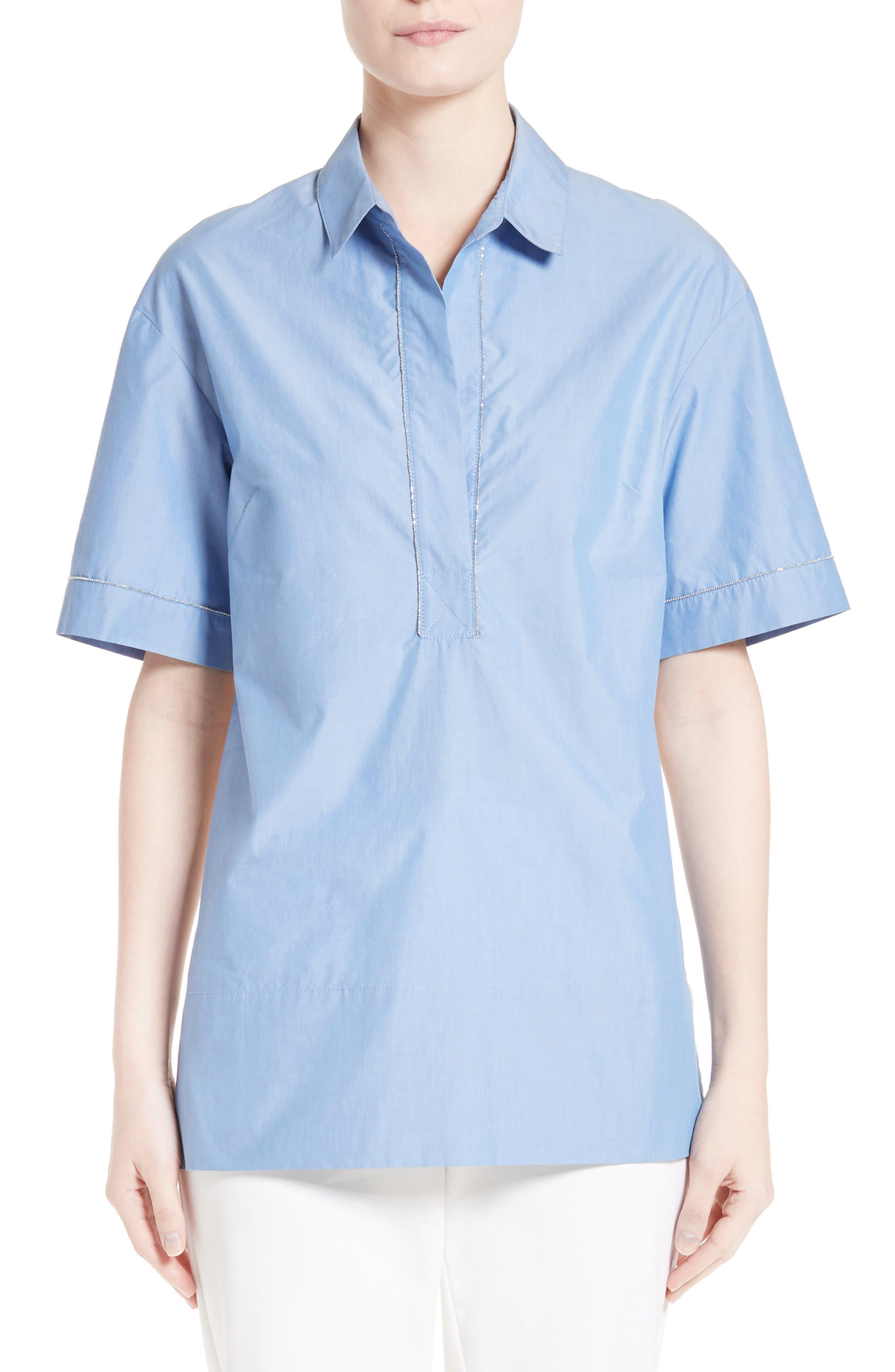 ST. JOHN COLLECTION Chambray & Silk Shirt